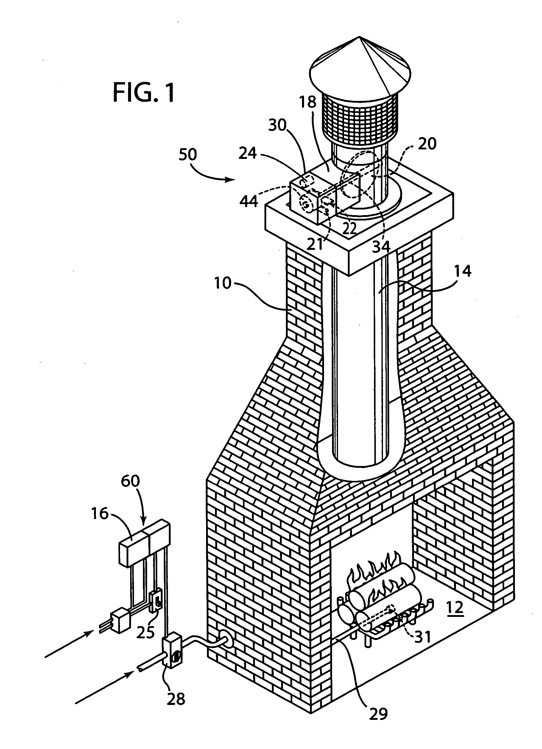 Patent us20050247303 wireless fireplace damper control for How to close chimney flue