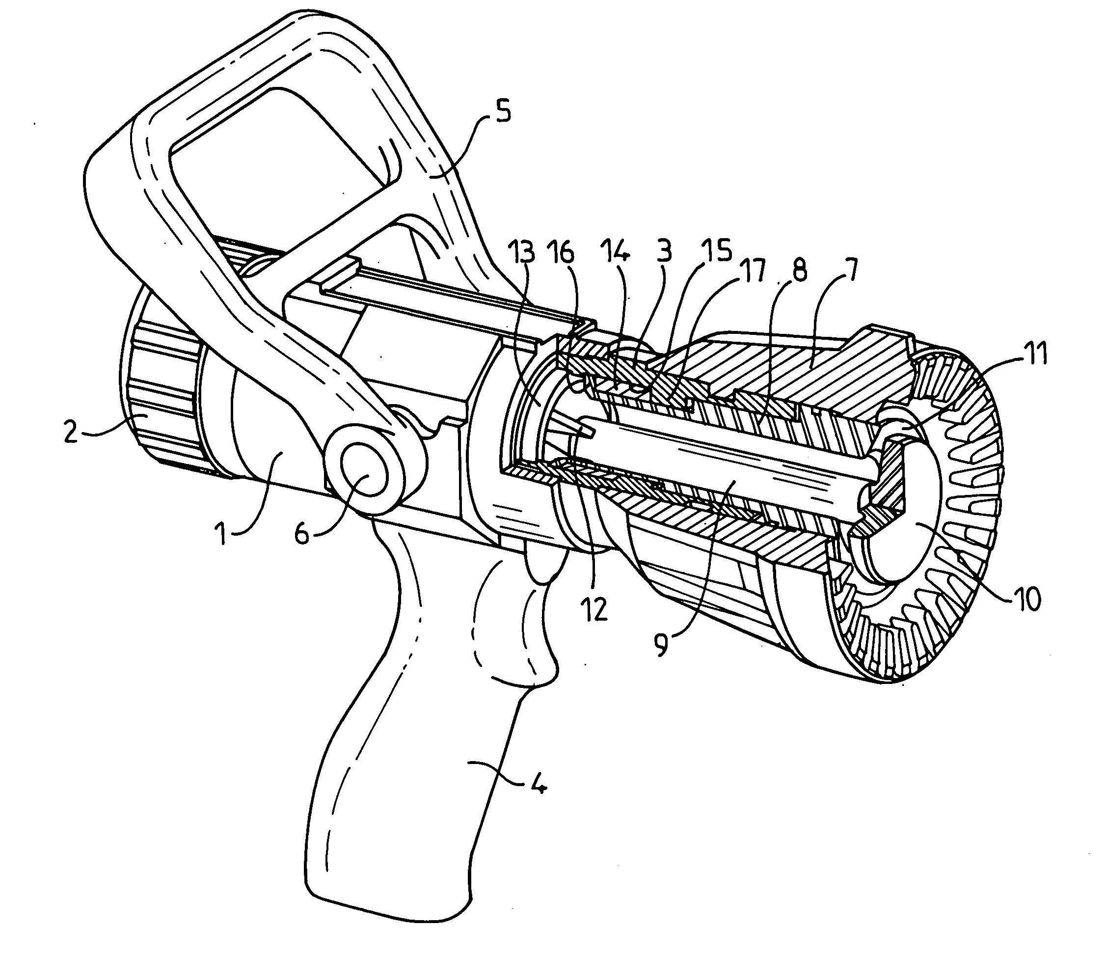 Patent US20050274825 Fire hose nozzle with constant fluid flow