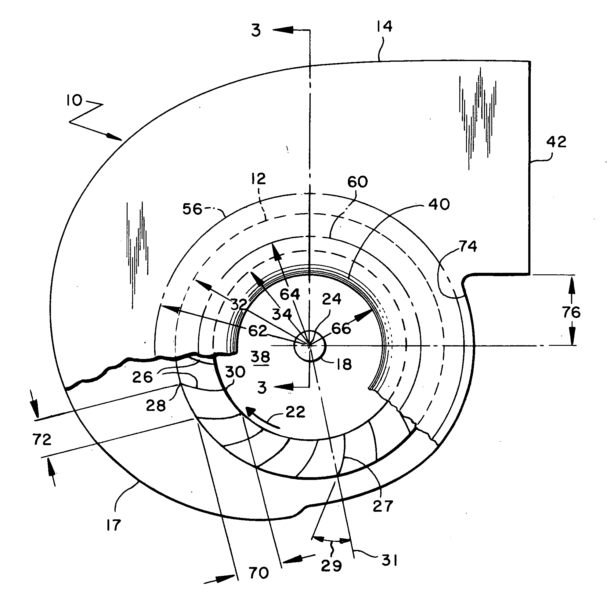 Patent US20060034686 Fan inlet and housing for a centrifugal blower  #2B2B2B