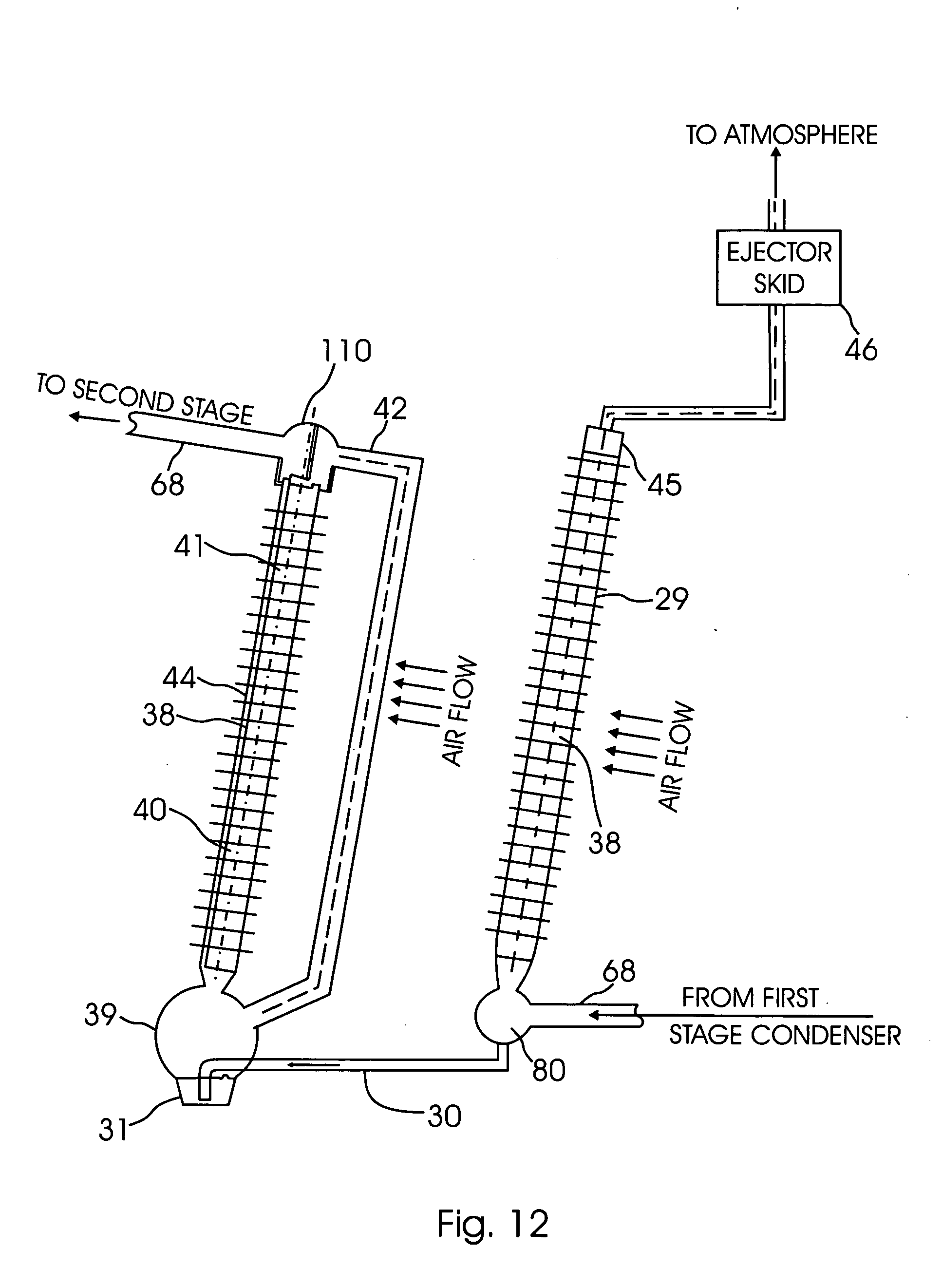 Patent US Air cooled condensing system and method