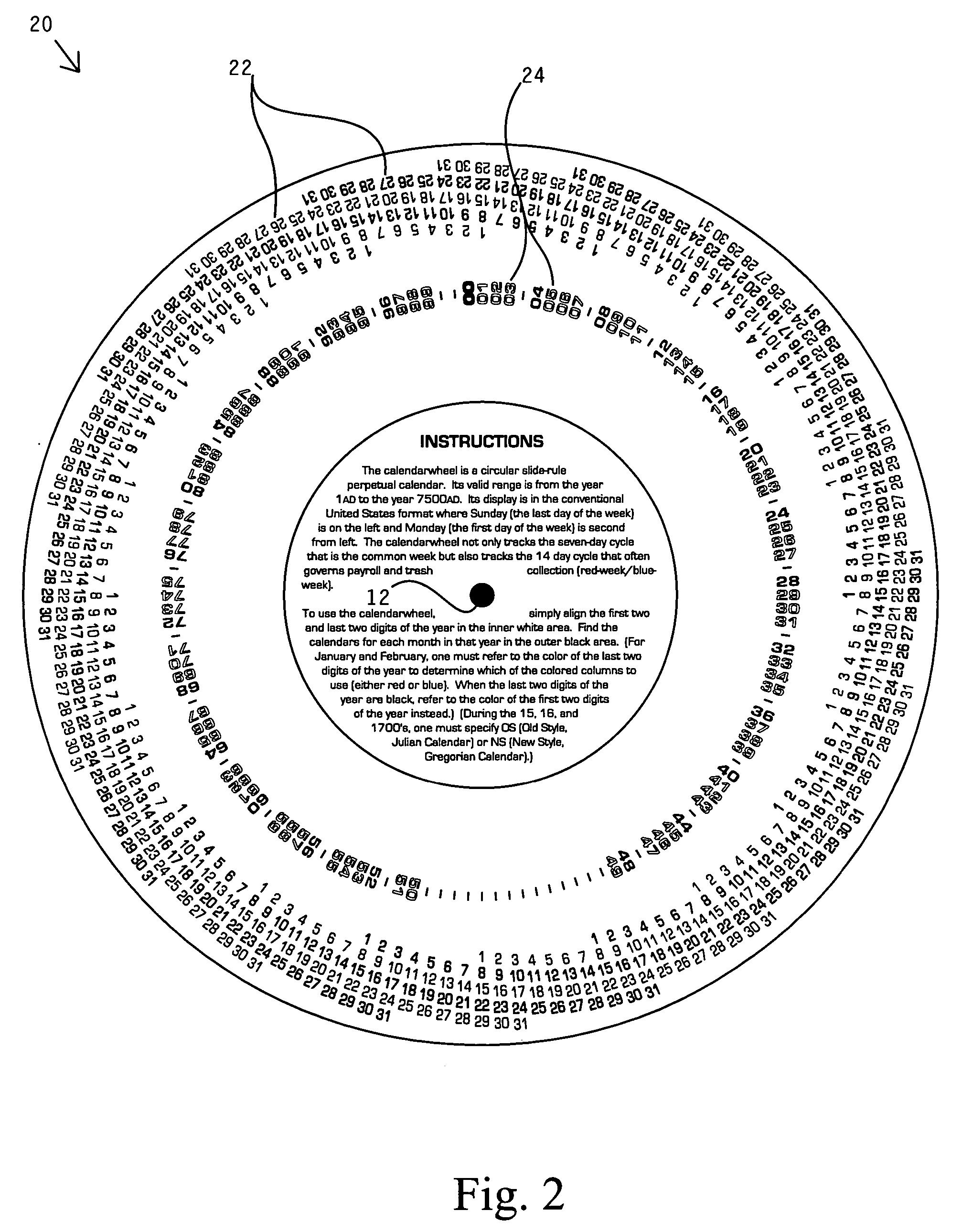 Patent US20060101677 - Perpetual calendar wheel chart - Google Patents