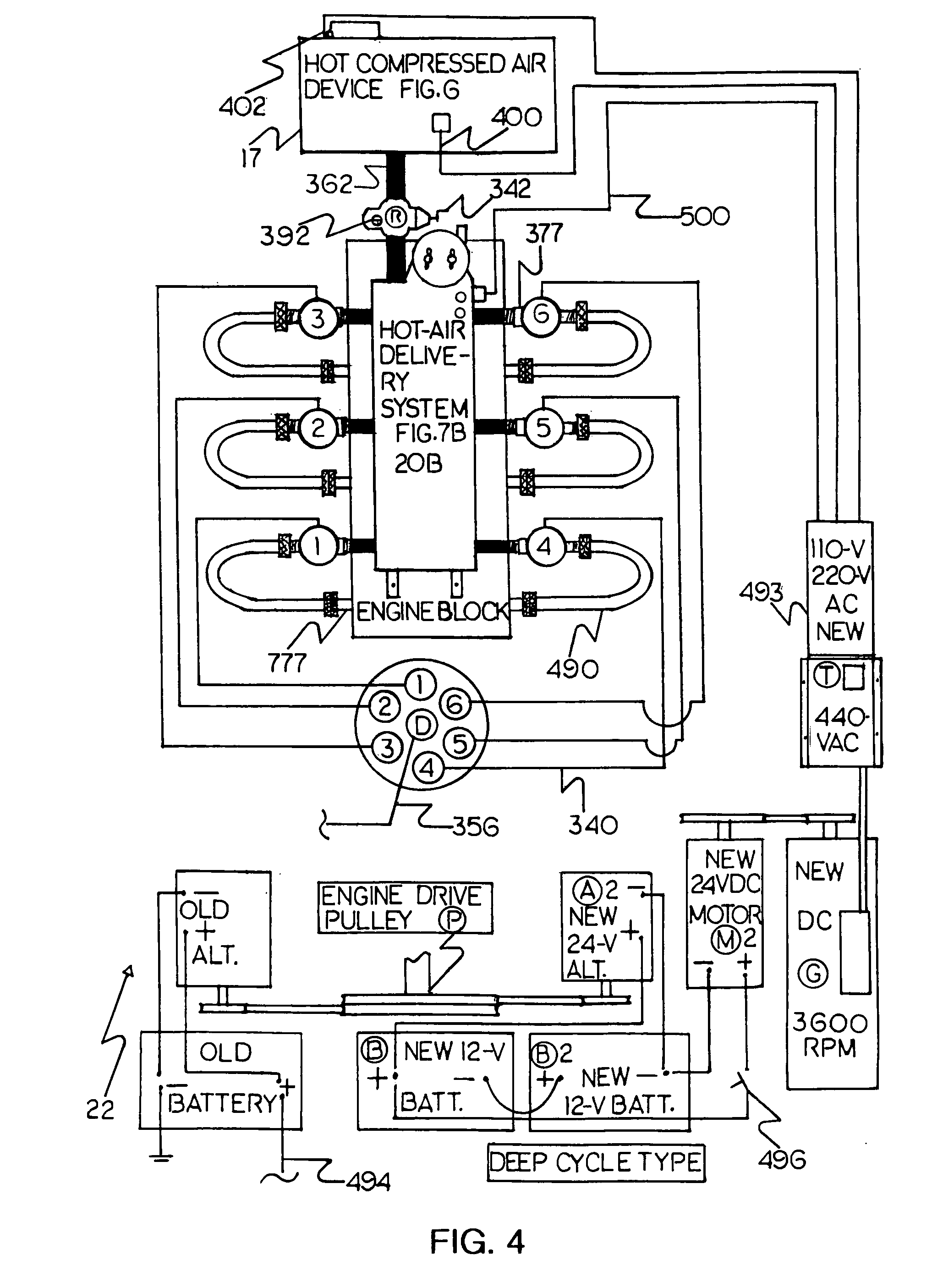 patent us gasoline to pneumatic engine conversion patent drawing