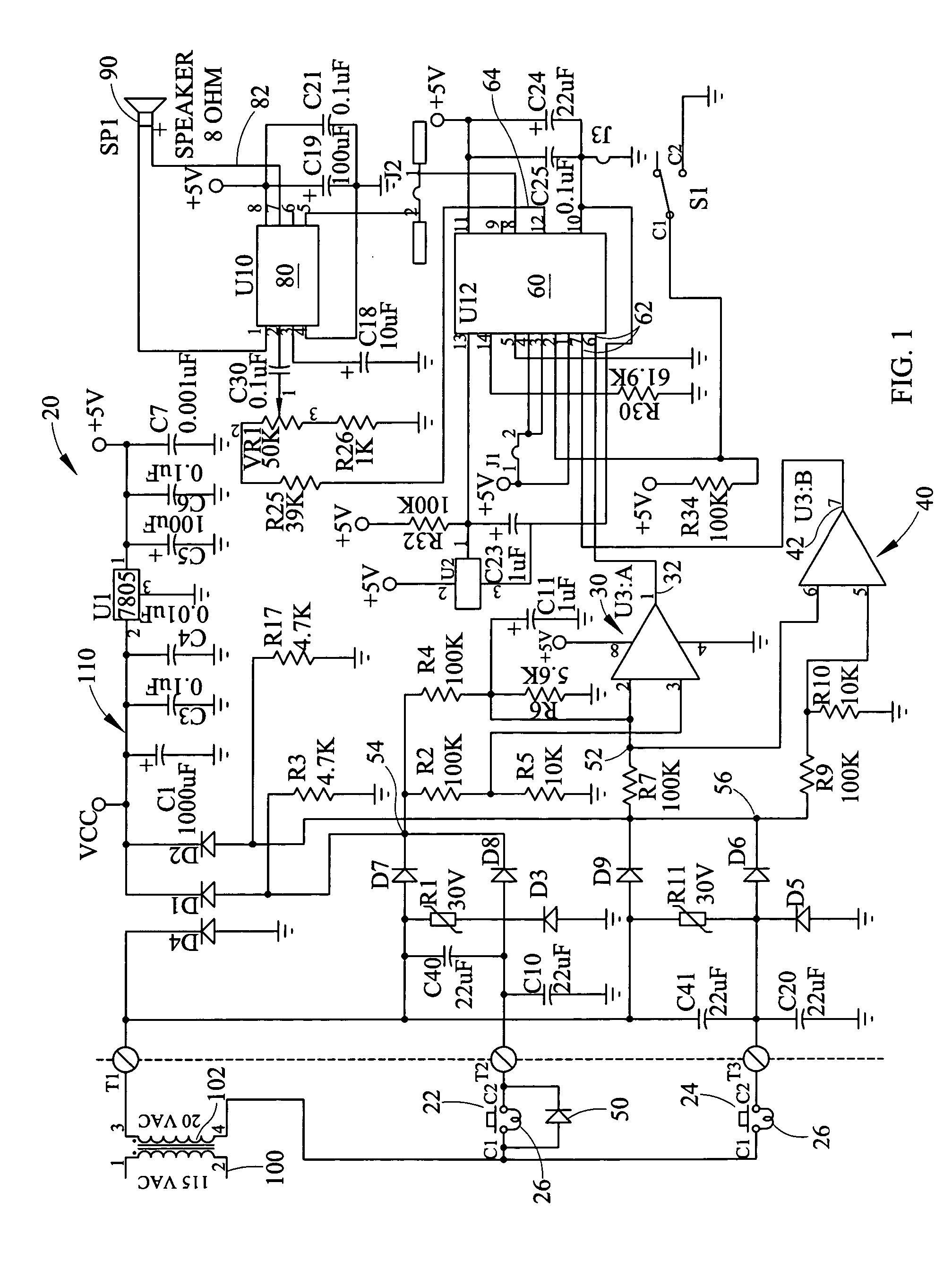 brevet us20070008077 reversible diode doorbell detection circuit Home Doorbell Wiring patent drawing
