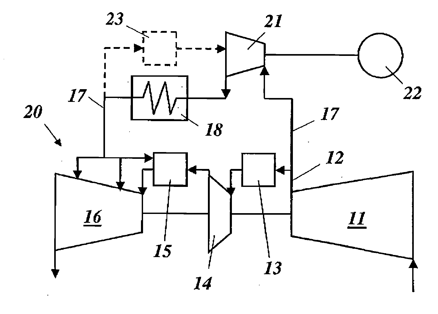 Patent US Gas turbine with cooling air Google Patents