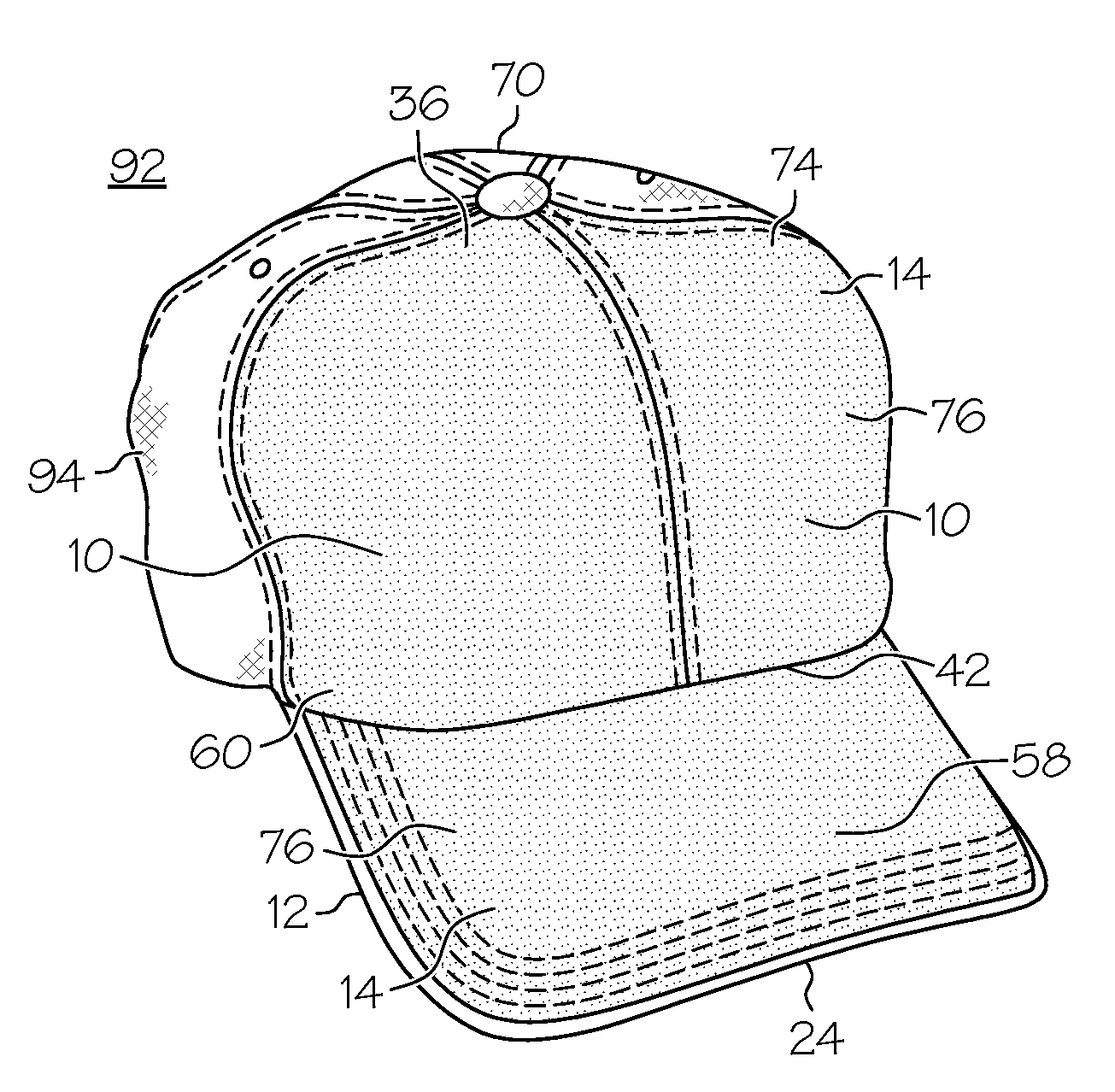 patent us20070143906 hat with velcro attachment panels and