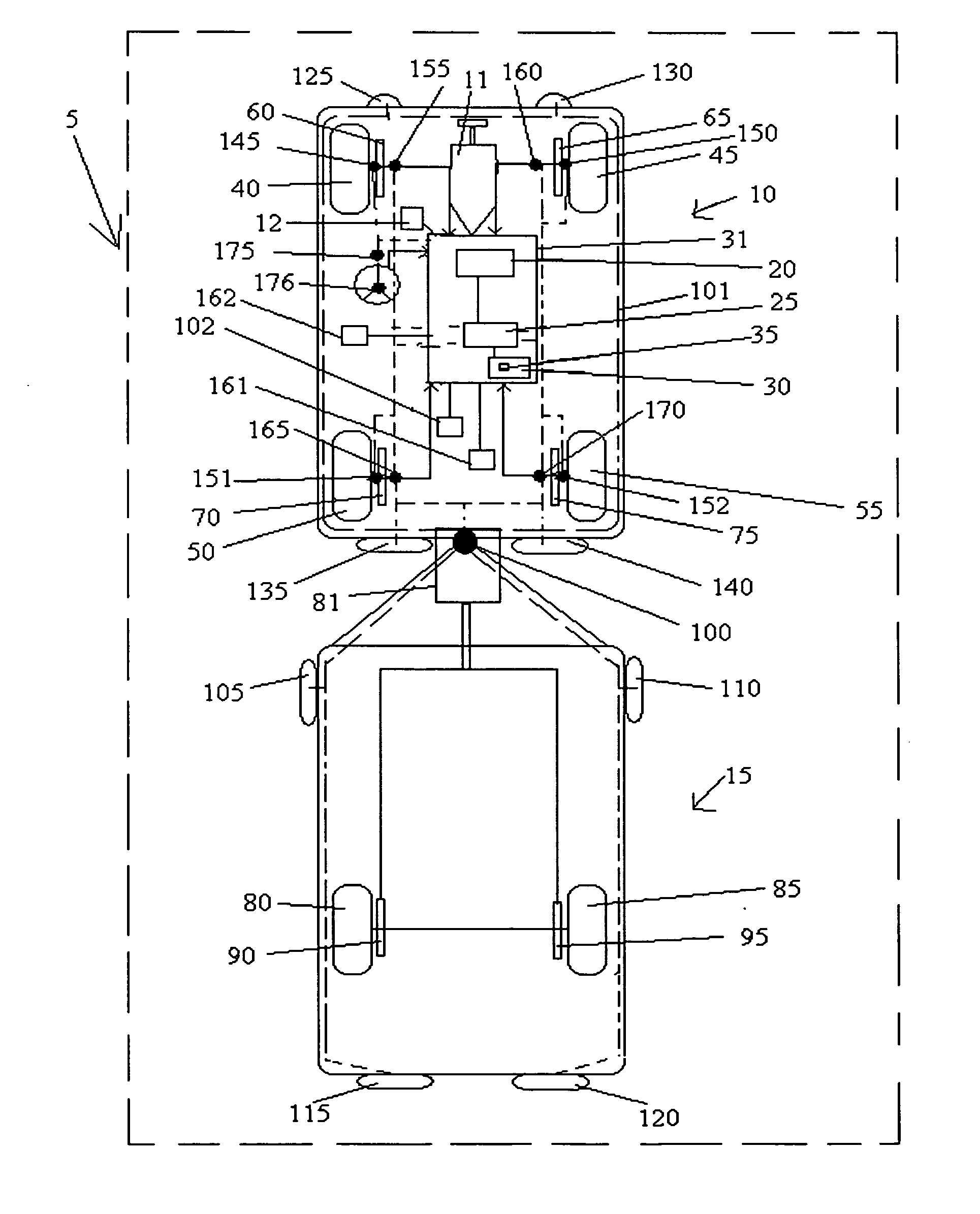 Patente Us20070260386 Stability Enhancing System For Tow Vehicle Shorelander Wiring Harness Patent Drawing