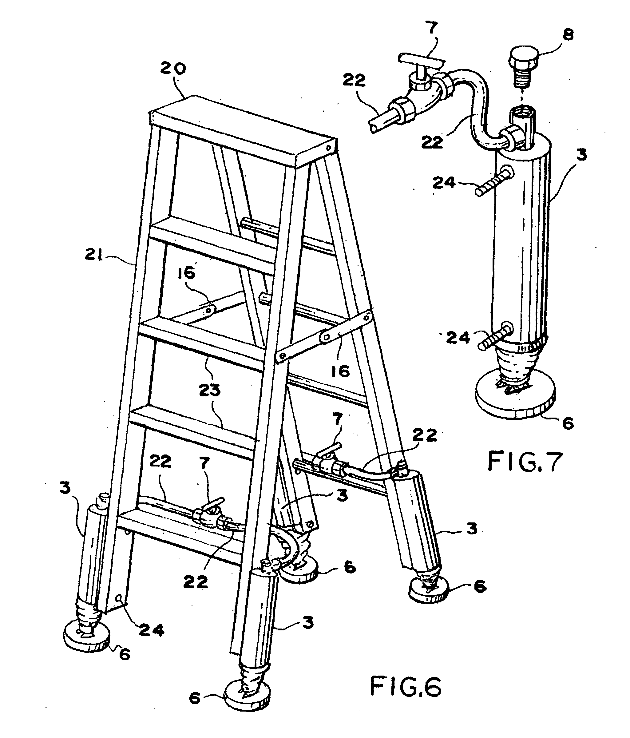 Self Leveling Stairs : Patent us  self leveling ladder system