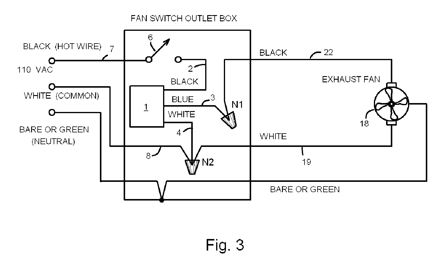 Timer for bathroom exhaust fan - Patent Drawing