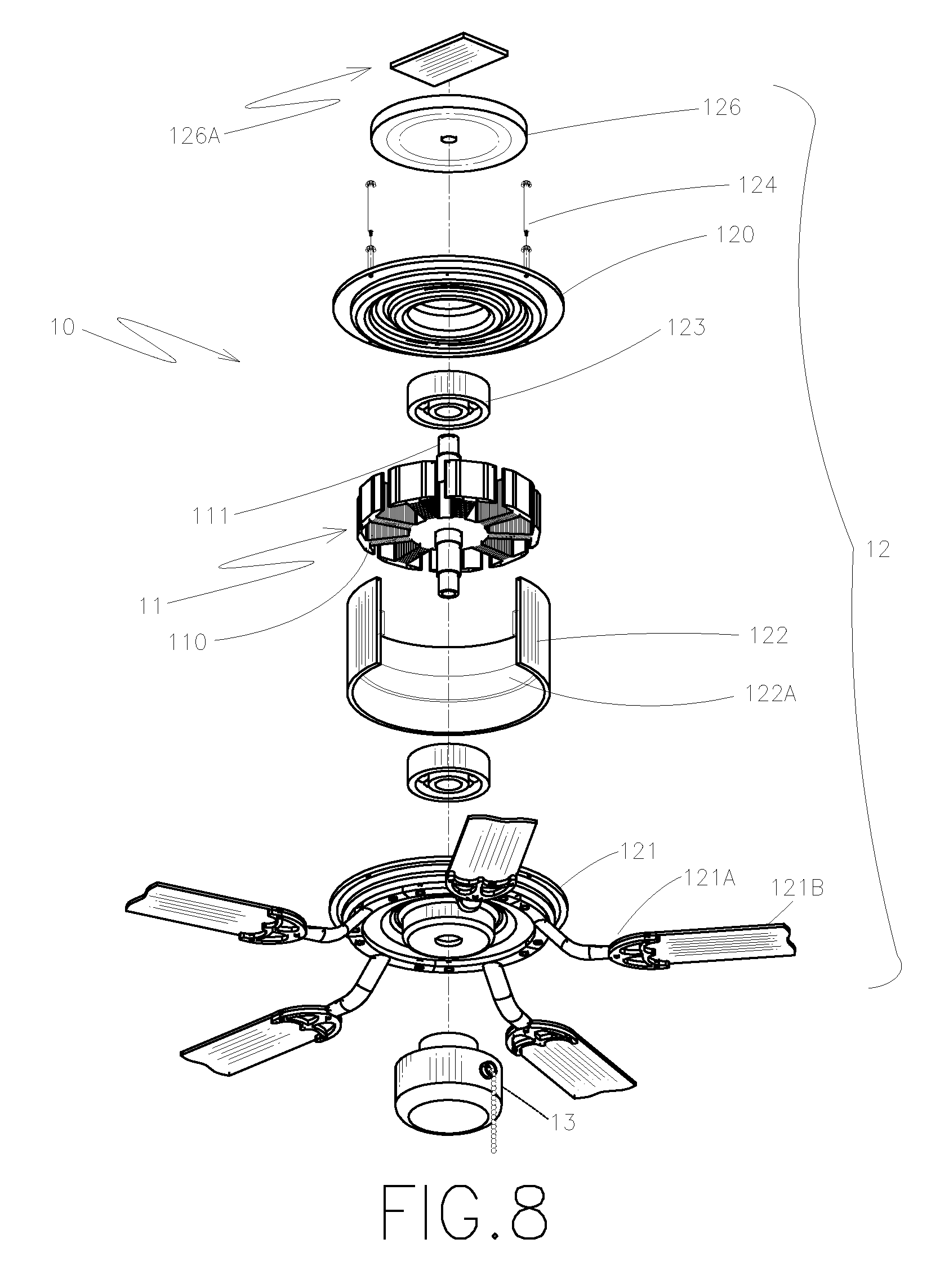 patent us20080169732 - integrated stator and rotor for a dc brushless ceiling fan motor