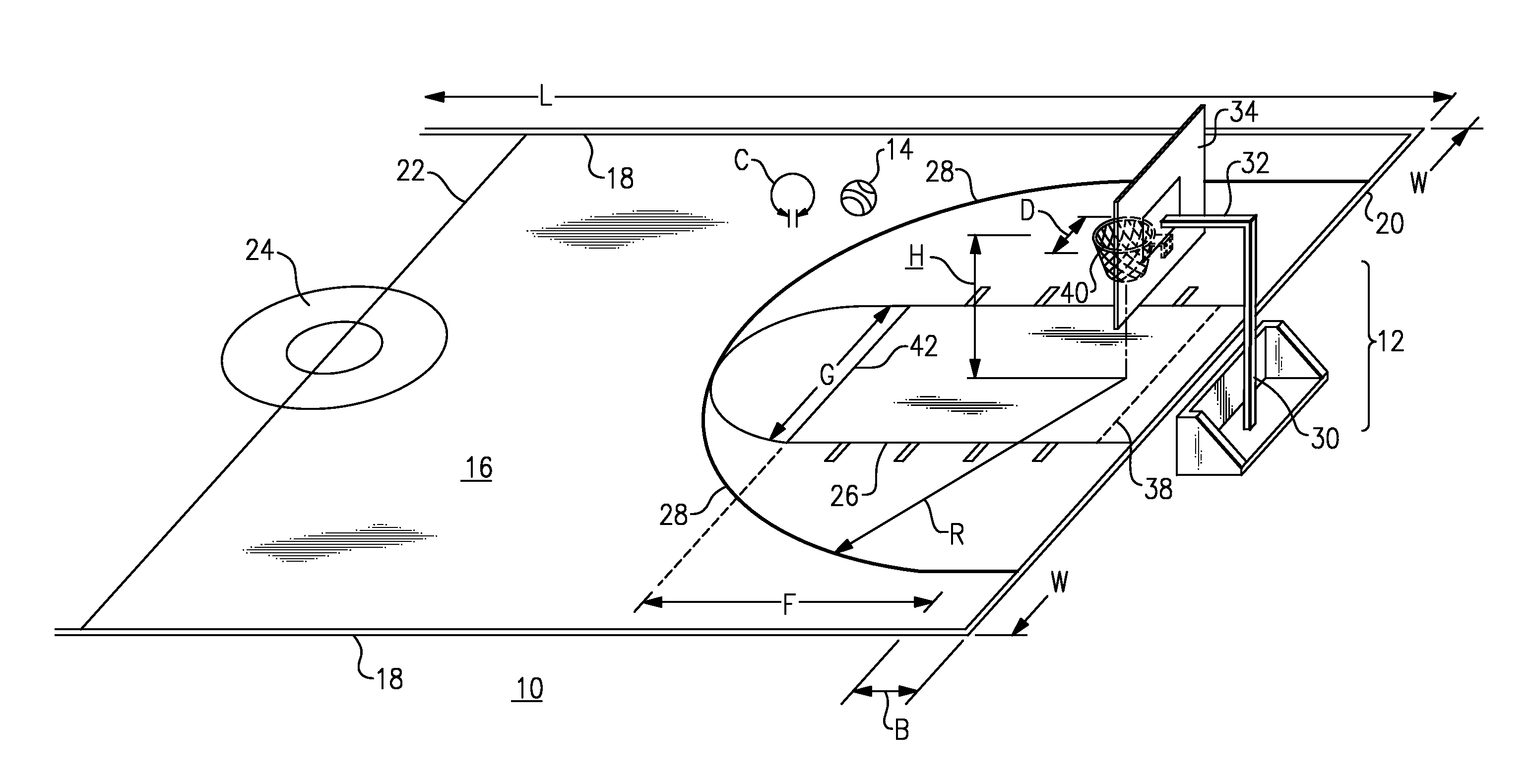 Patent us20080171620 scale sports court and equipment for Average basketball court size