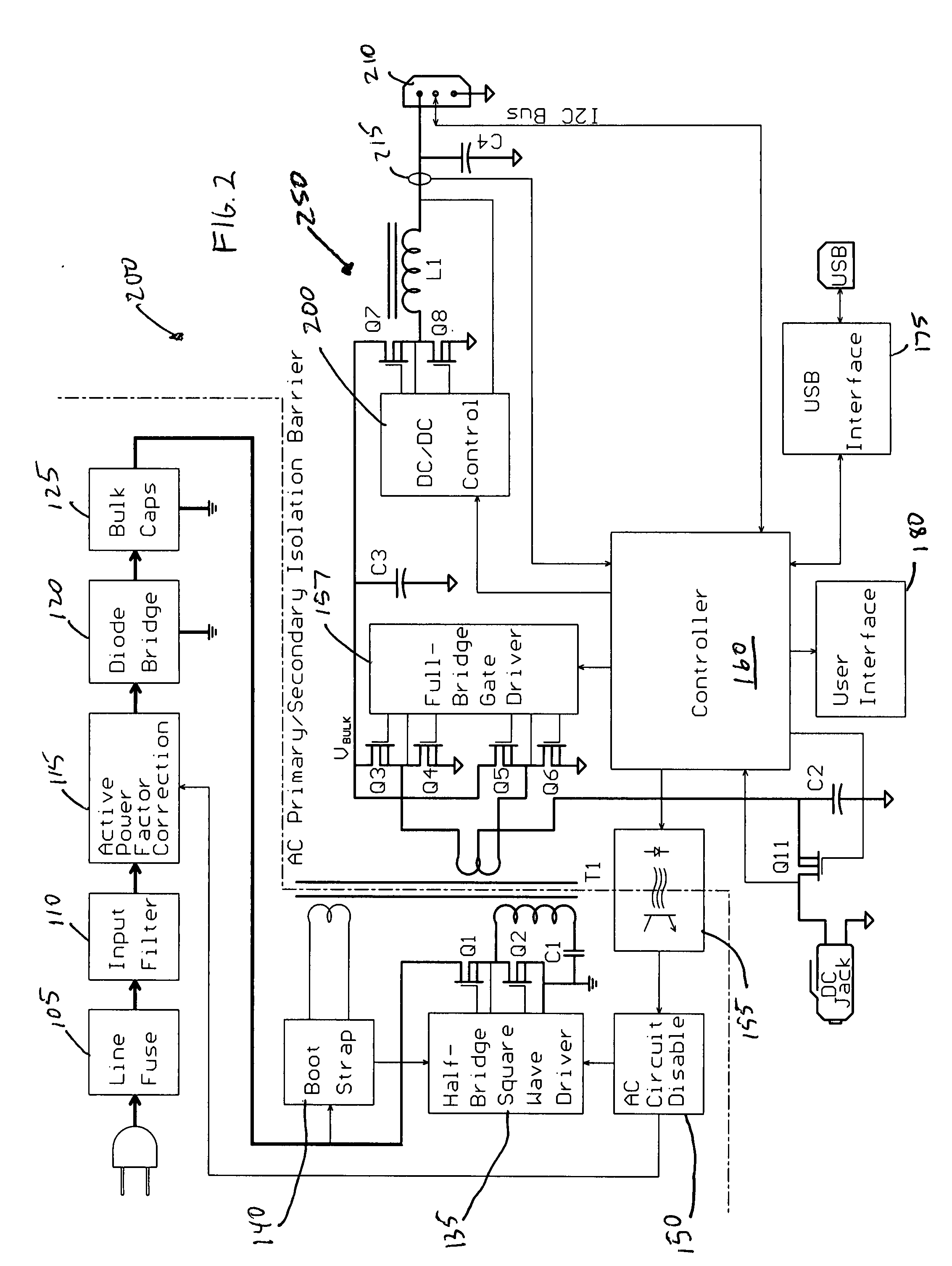 Patent Us20080273355 Dual Output Programmable Power Supply Diode In Ac Circuit Drawing