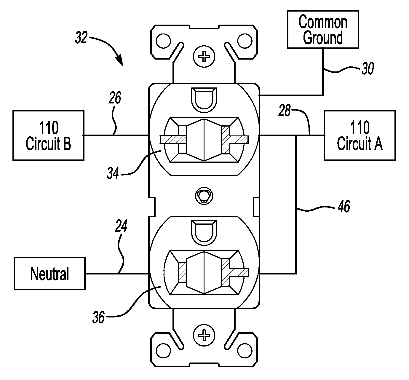 patent us20080286995 two plug electrical outlet dual patent drawing