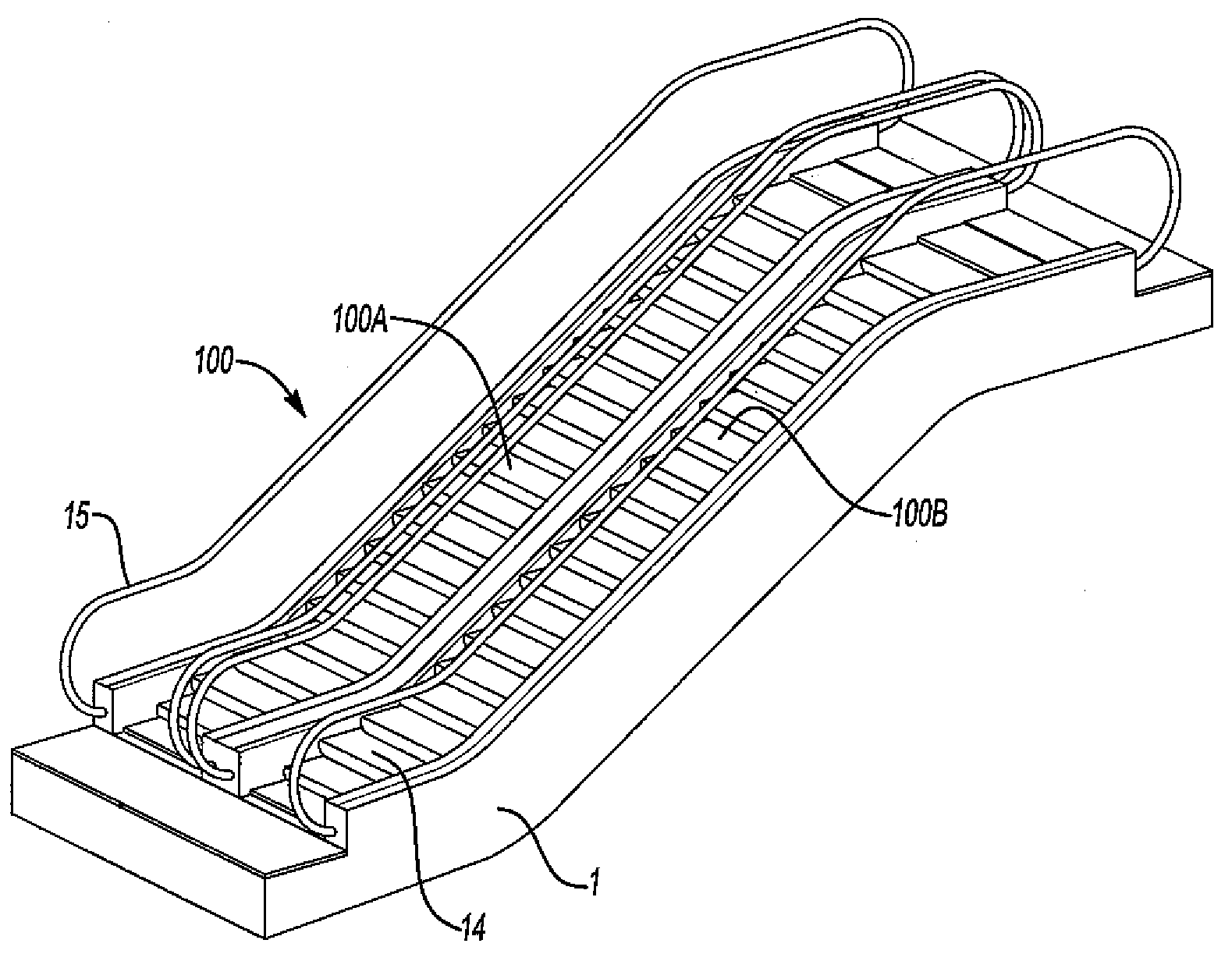 patent drawing of escalator sketch coloring page