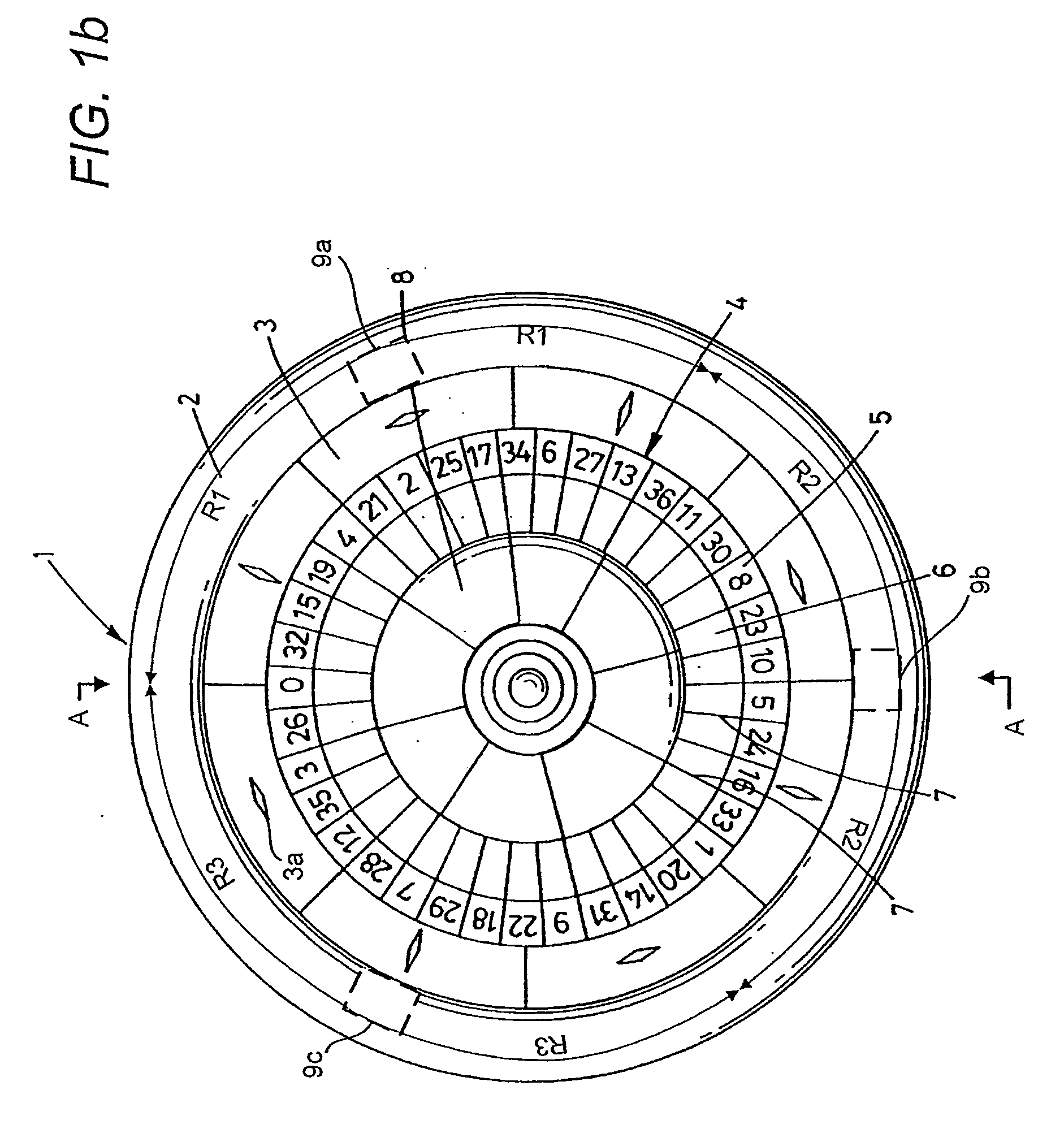Roulette wheel drop zone