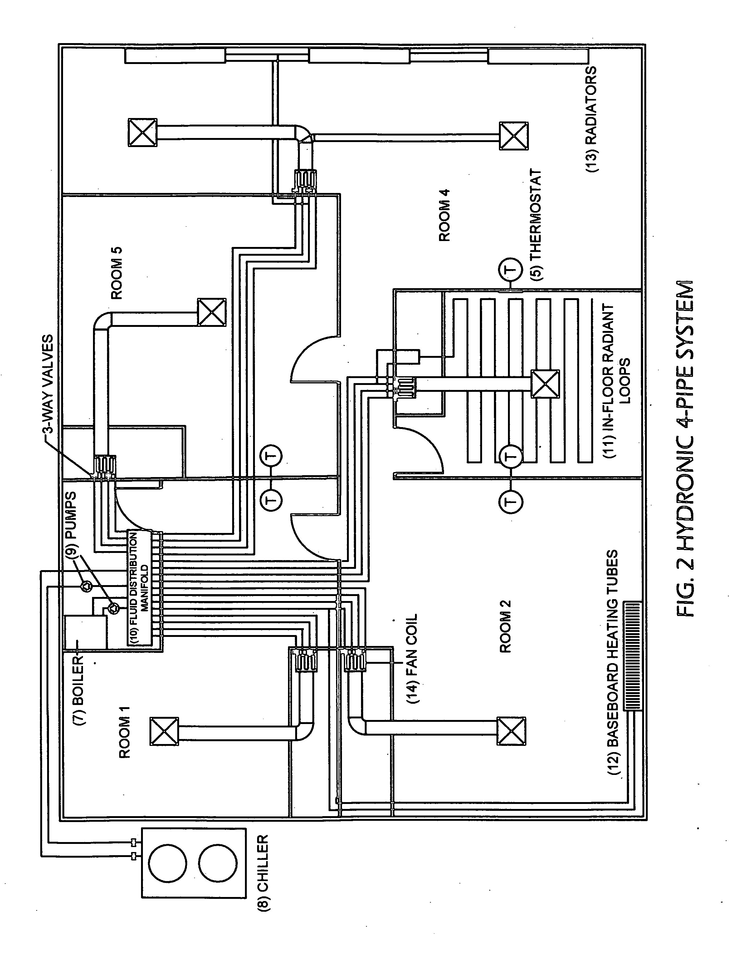 Patent US20090188985 Combined chiller and boiler HVAC system in a  #434343