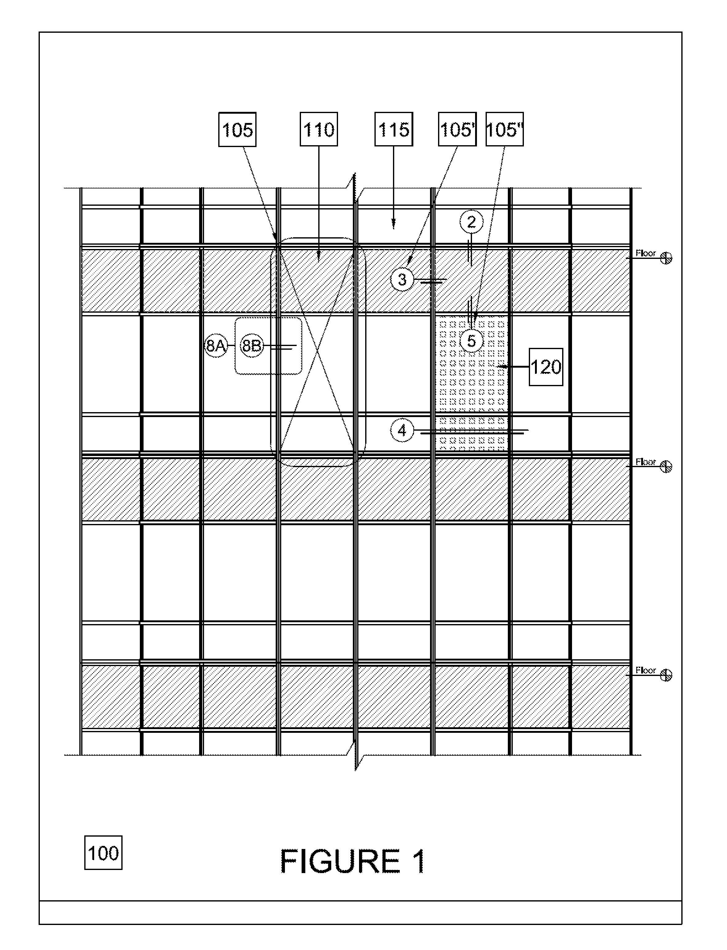 Curtain wall facade elevation - Patent Drawing