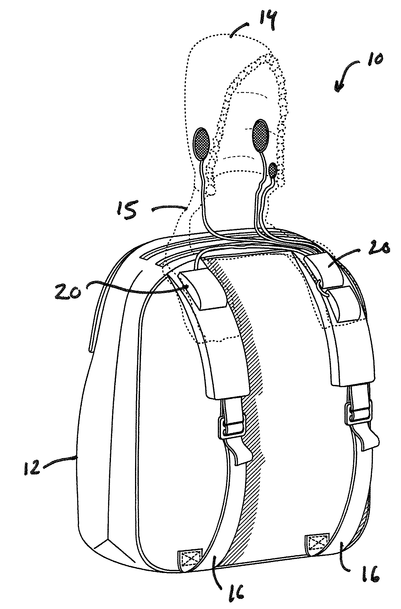 patent us20100078457 hooded backpack and speaker combination