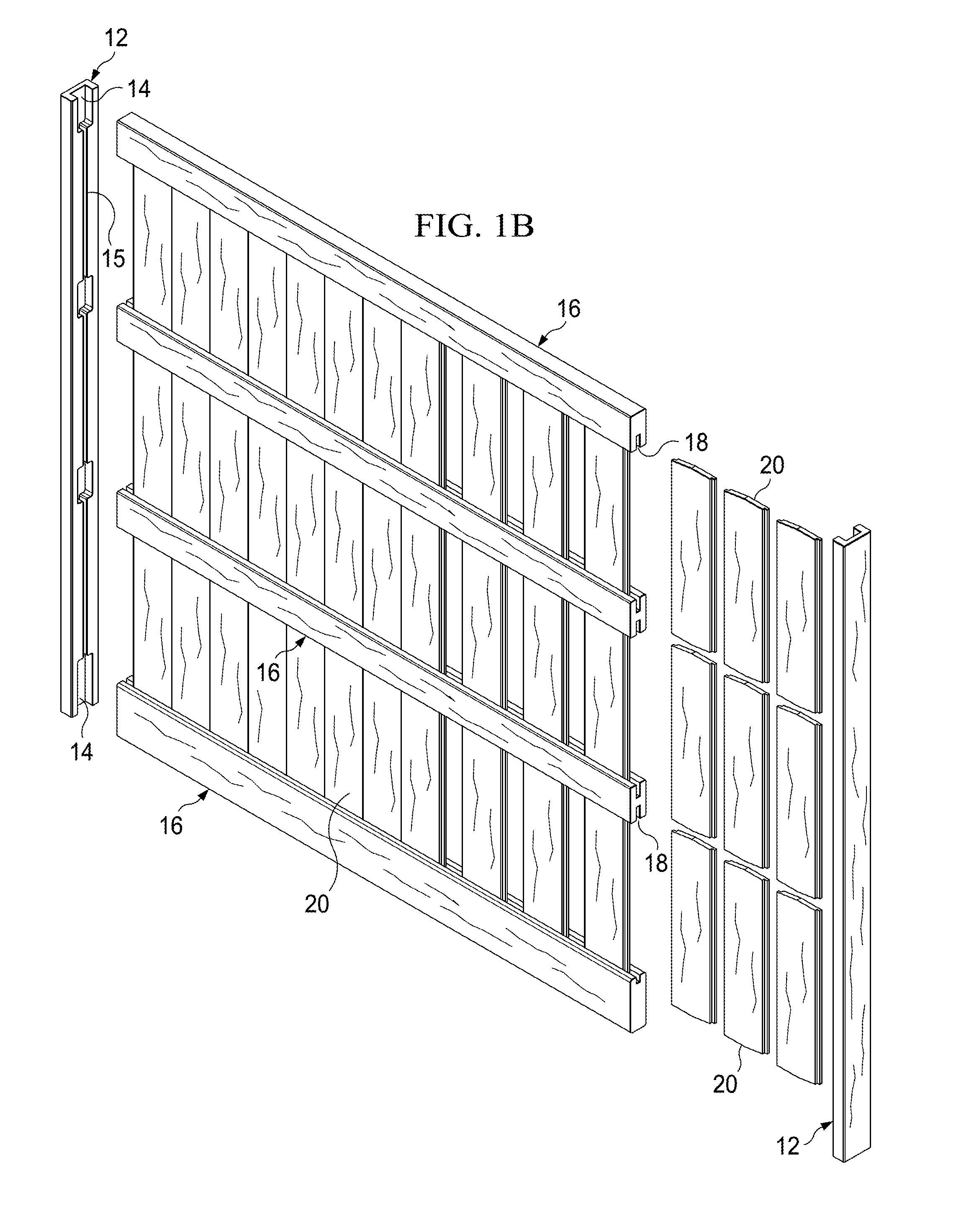 Patent us20100200825 rackable wood privacy fence panel google patent drawing baanklon Choice Image