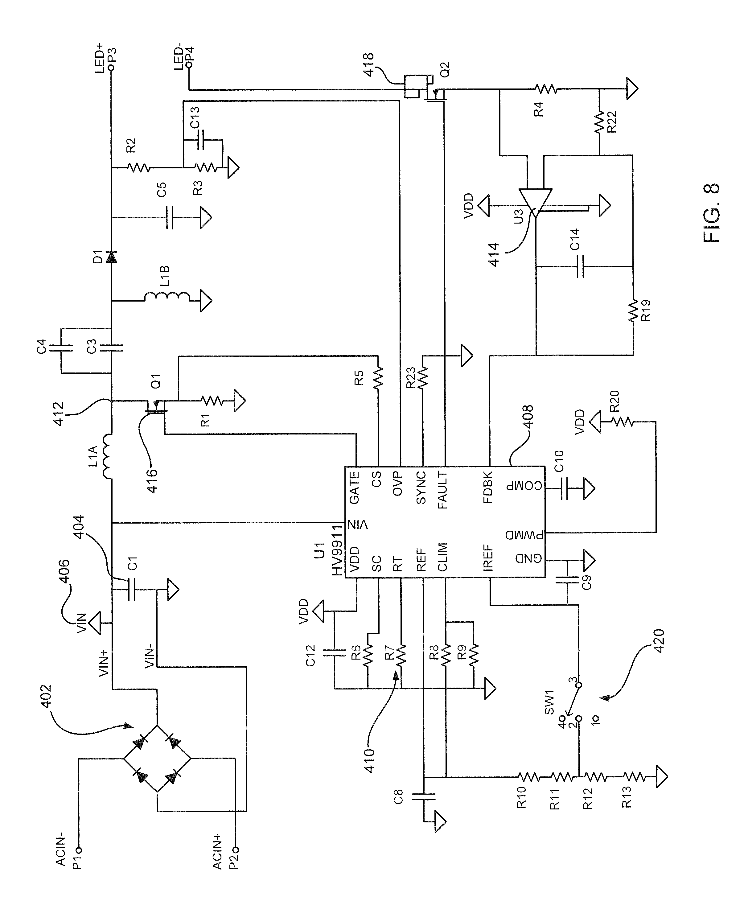 patent us20100231136 line voltage dimmable constant current led patent drawing