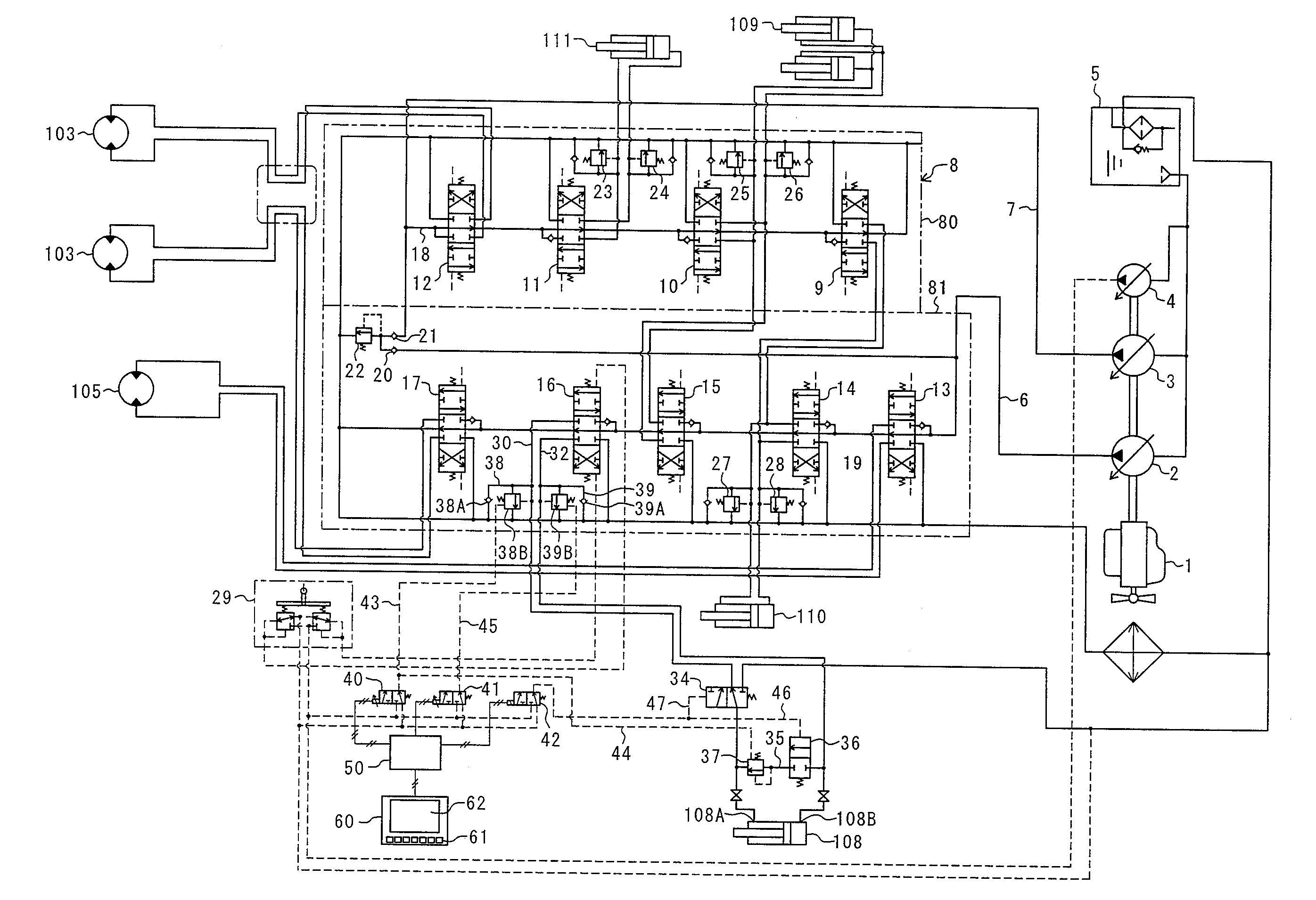 patent us    hydraulic circuit system for hydraulic    patent drawing