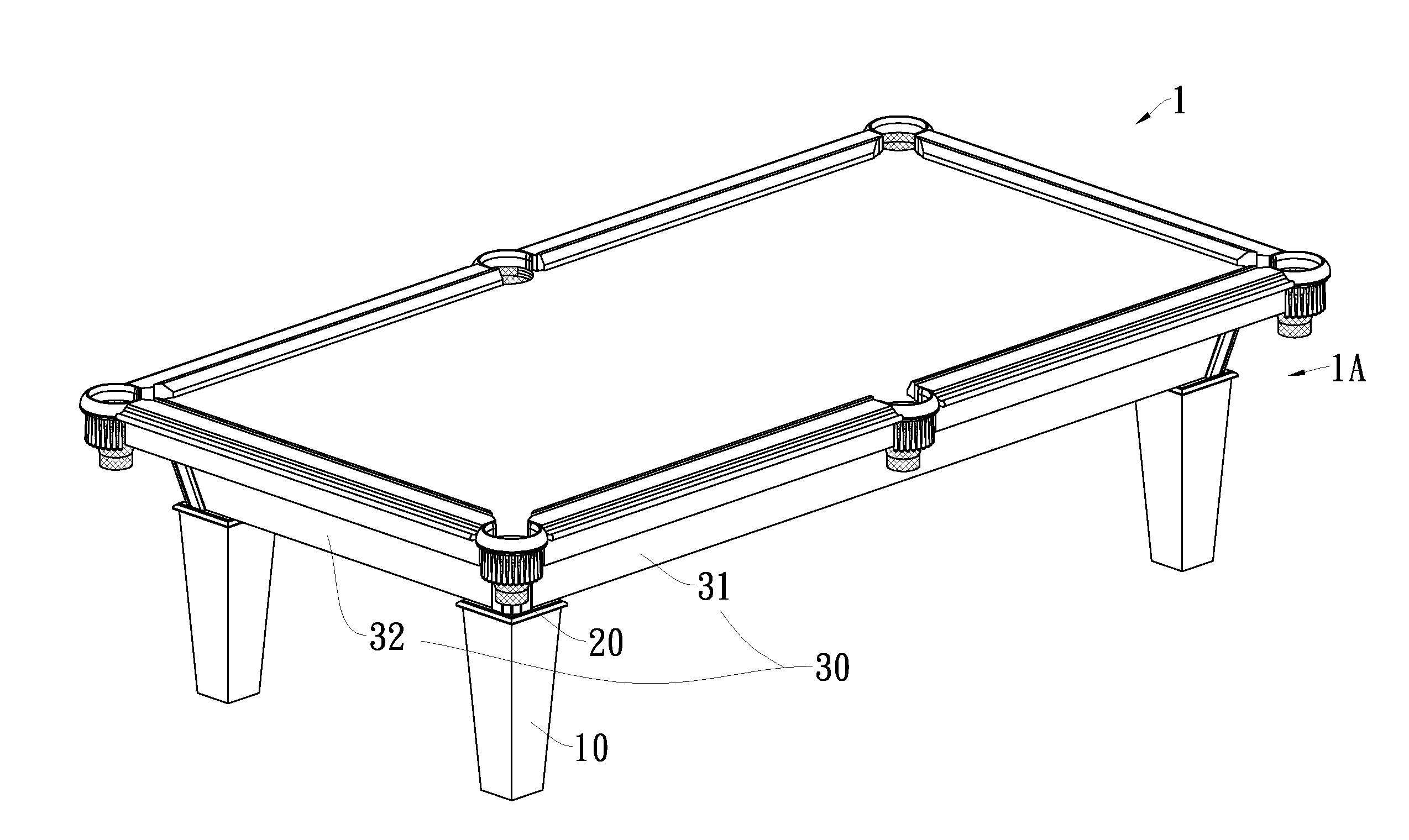 Patent us20110159975 pool table structure google patents for Table structure