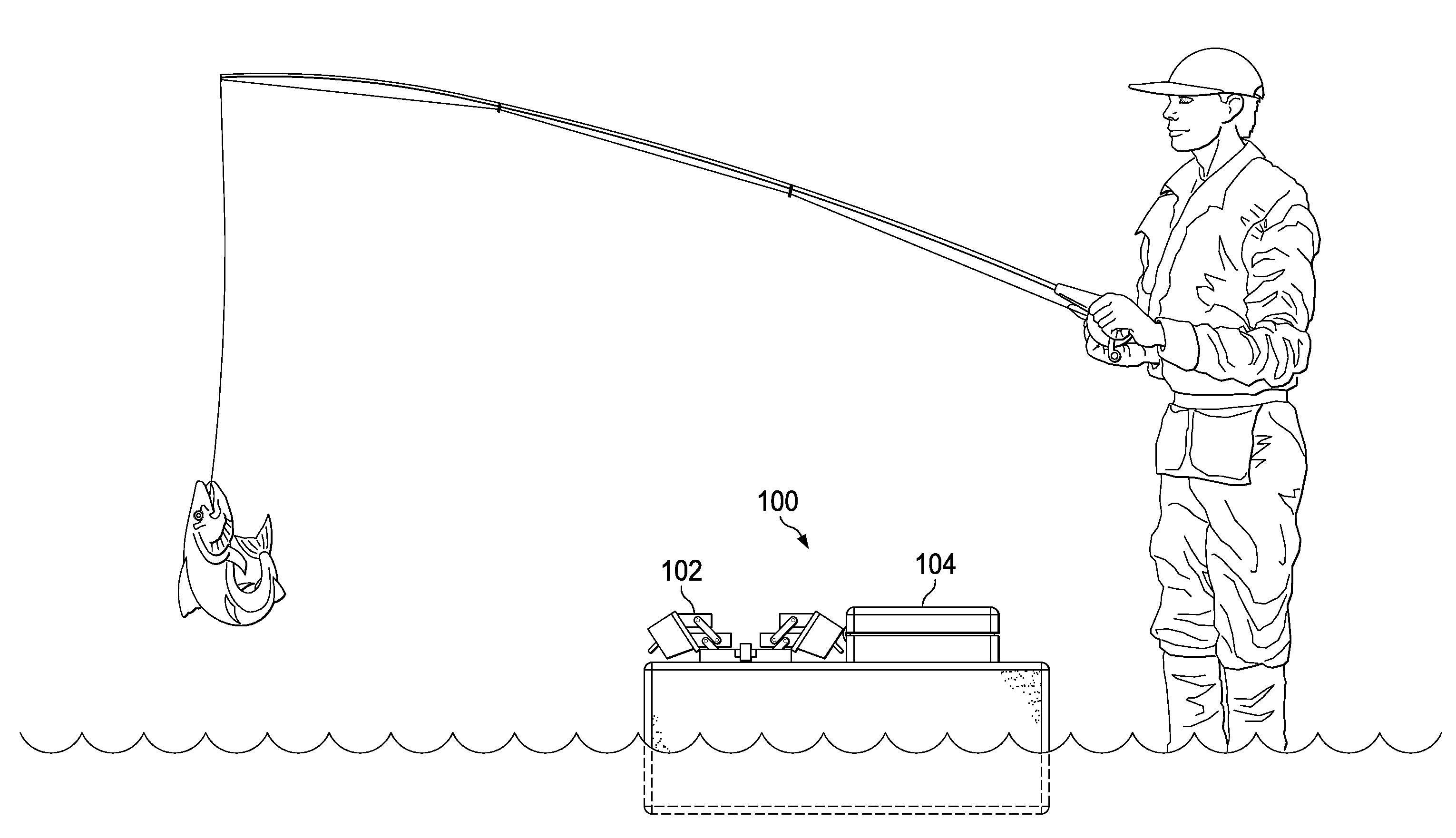 Patent us20110197494 wade fishing caddy google patents for Wade fishing caddy