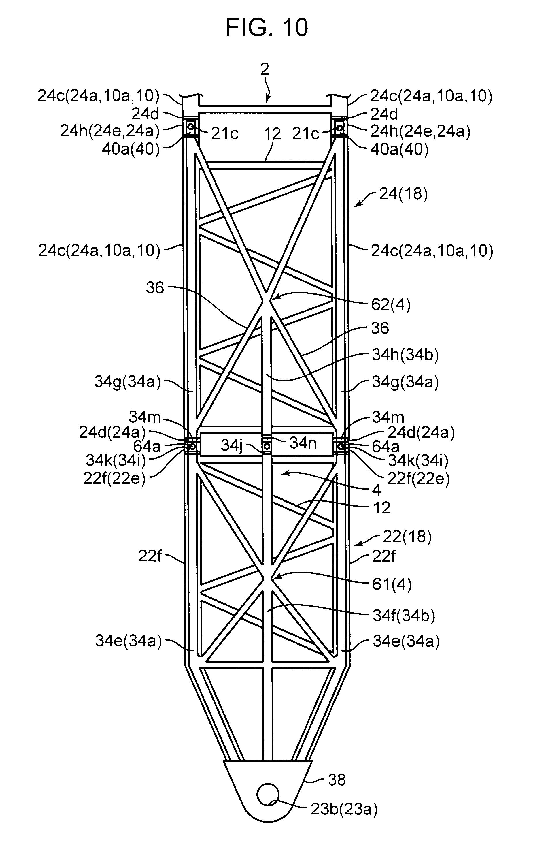 patent us20110290751 - lattice boom