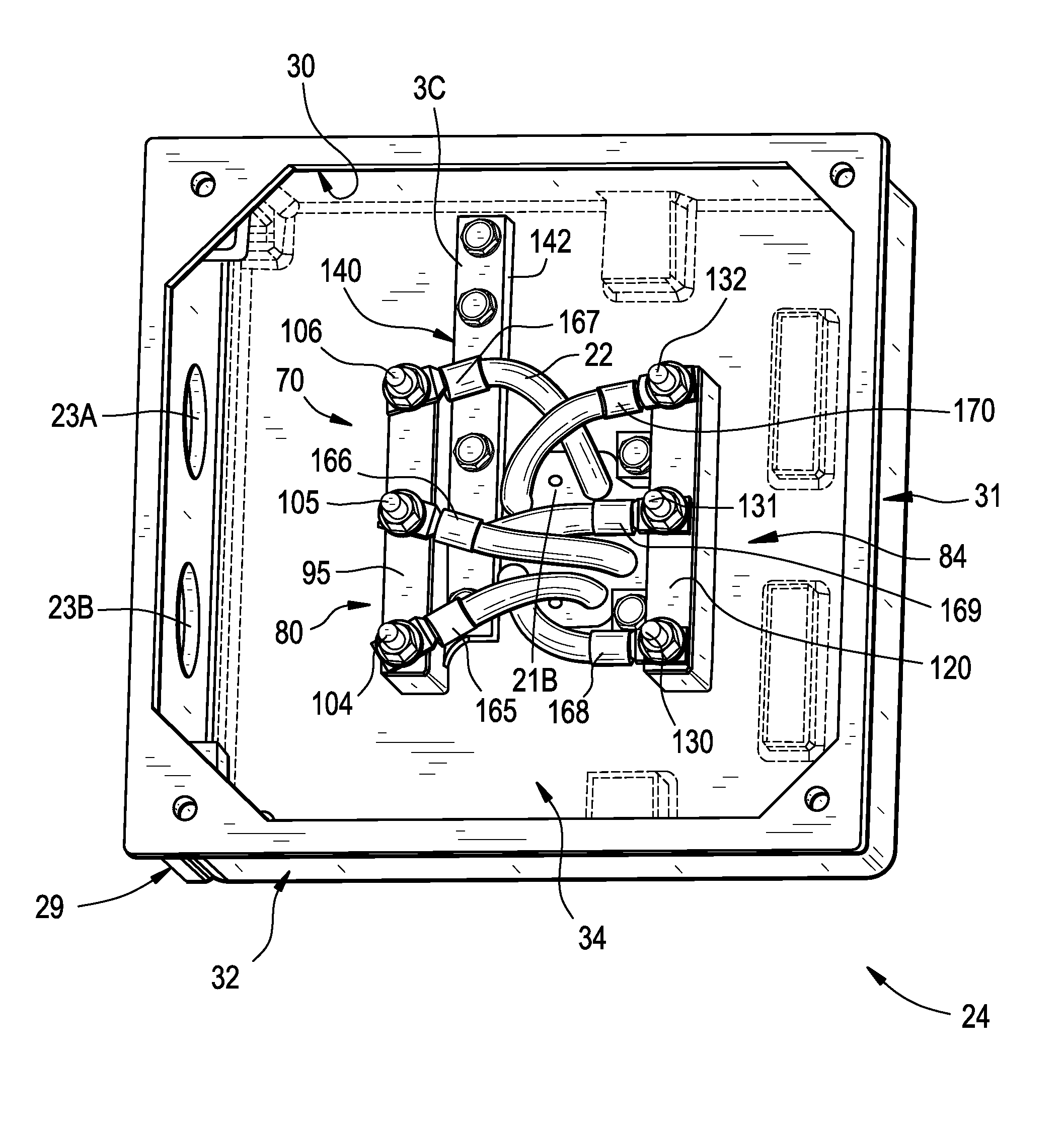 Patent us20120068563 electric motor terminal block for Electric motor connection box