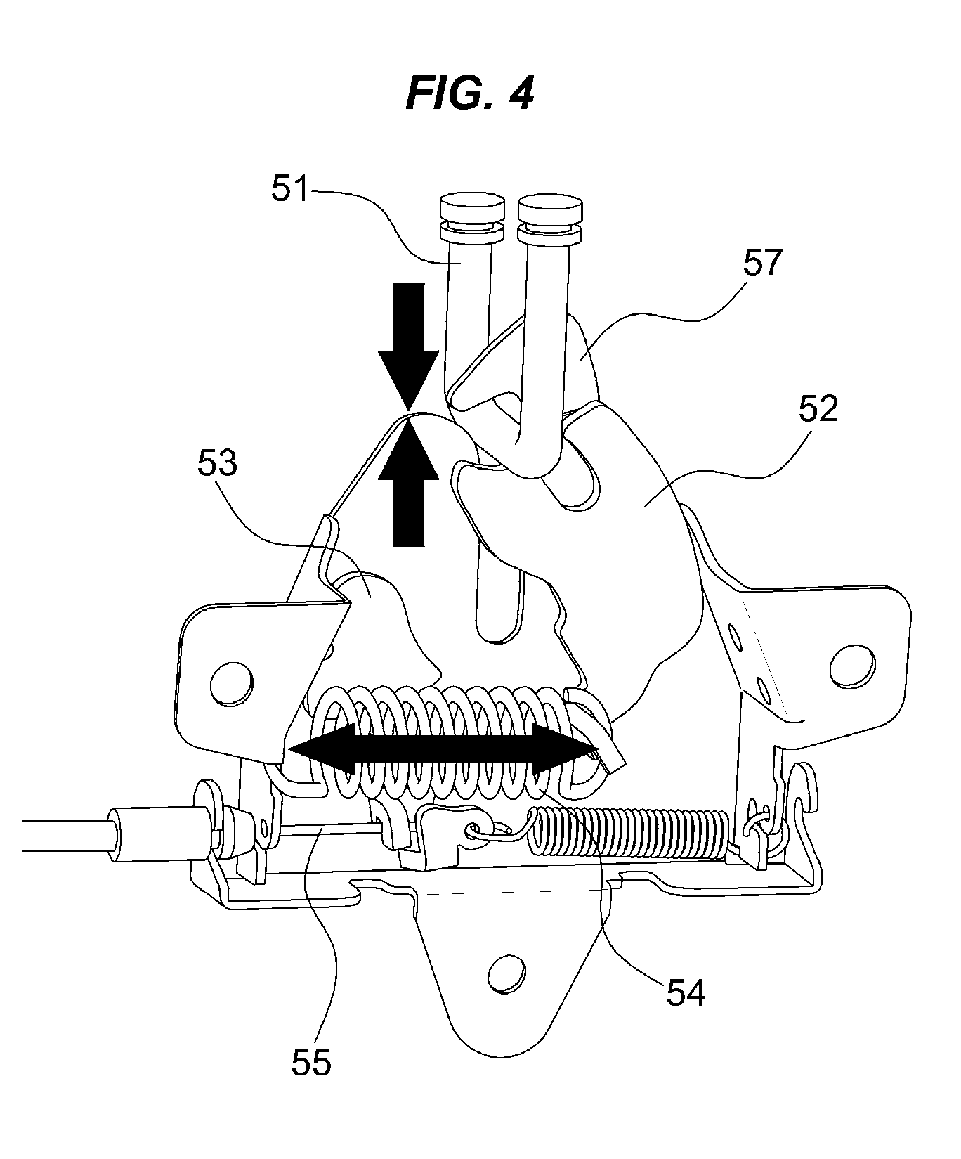 Flexible Cable Latch System : Patent us  active hood latch system for