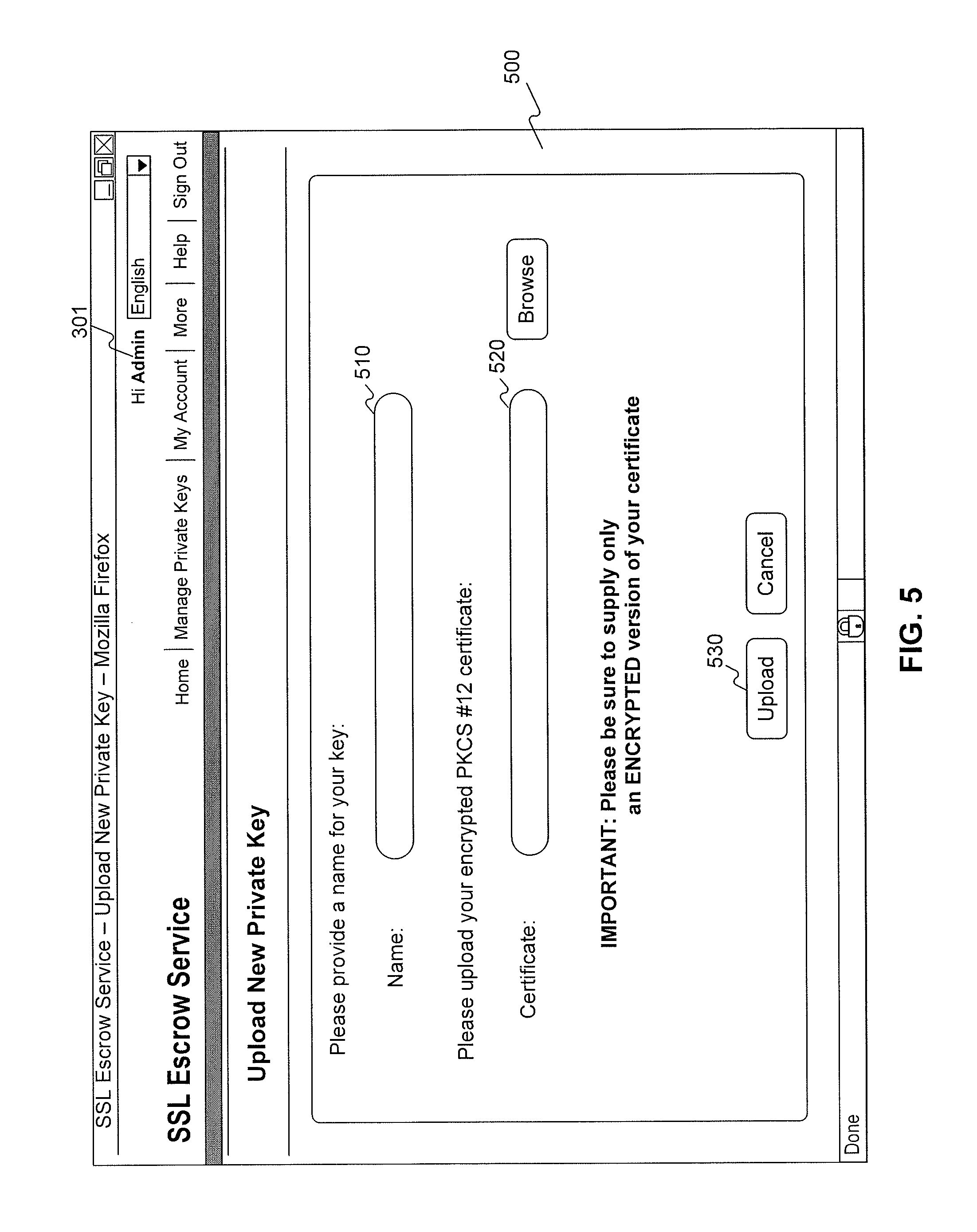 Patent us20120170753 management of ssl certificate escrow patent drawing xflitez Gallery