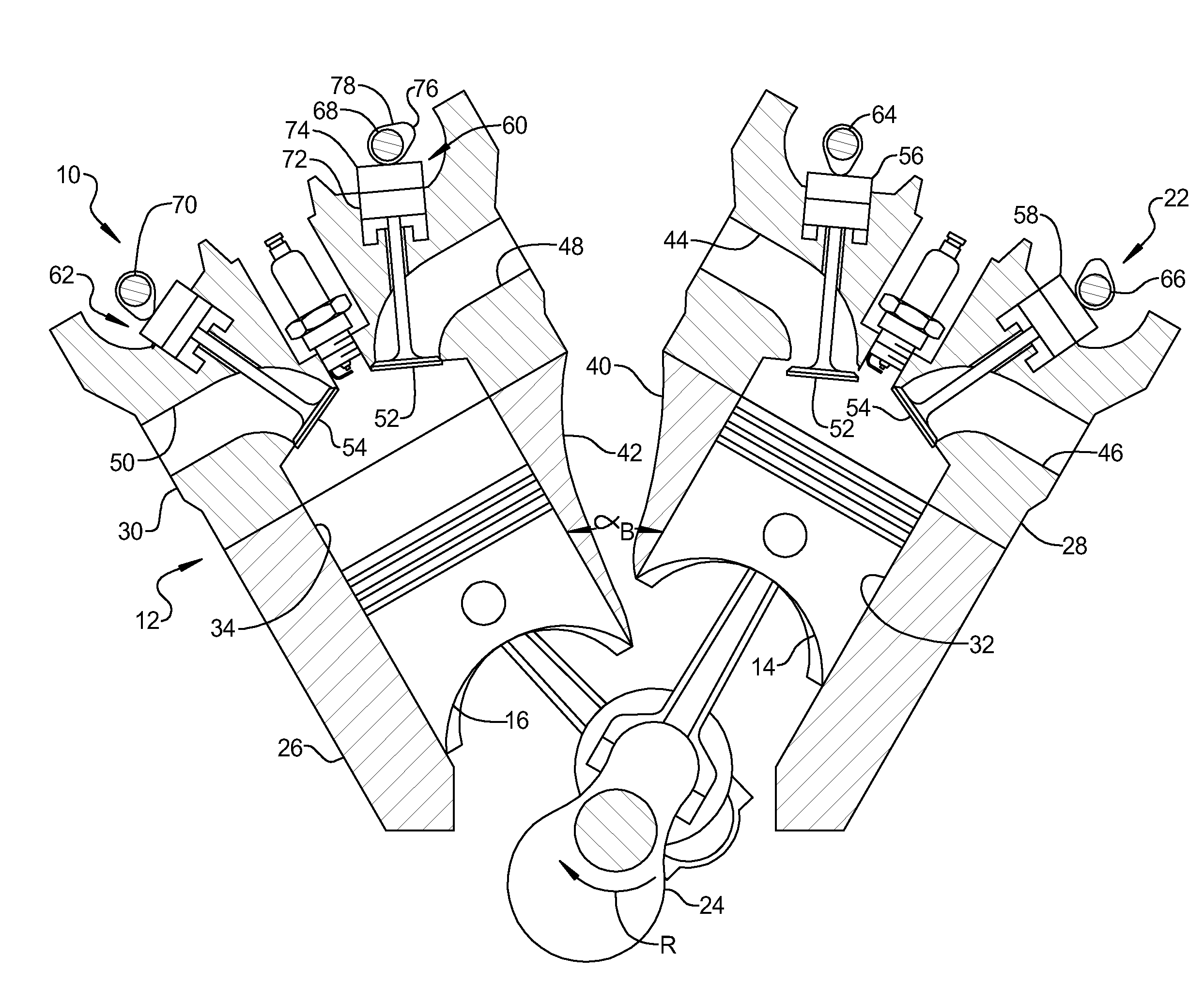 patent us20120234270 engine assembly including crankshaft for v4 patent drawing