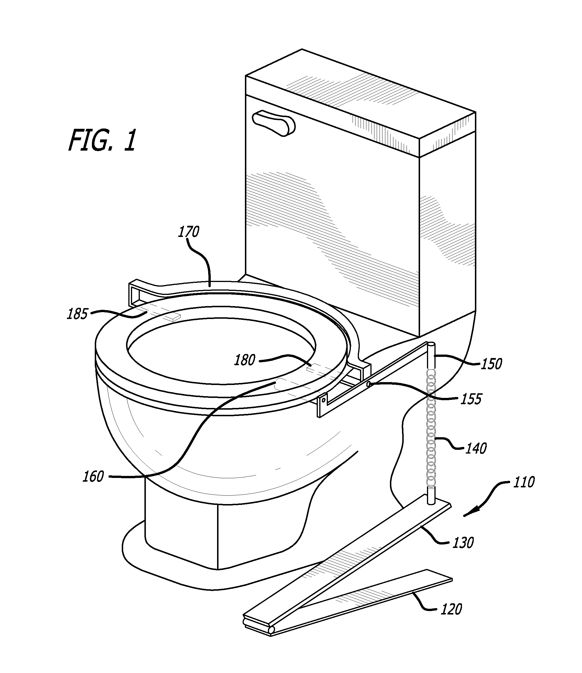 patent us20120272443 foot operated toilet seat lift google patents. Black Bedroom Furniture Sets. Home Design Ideas