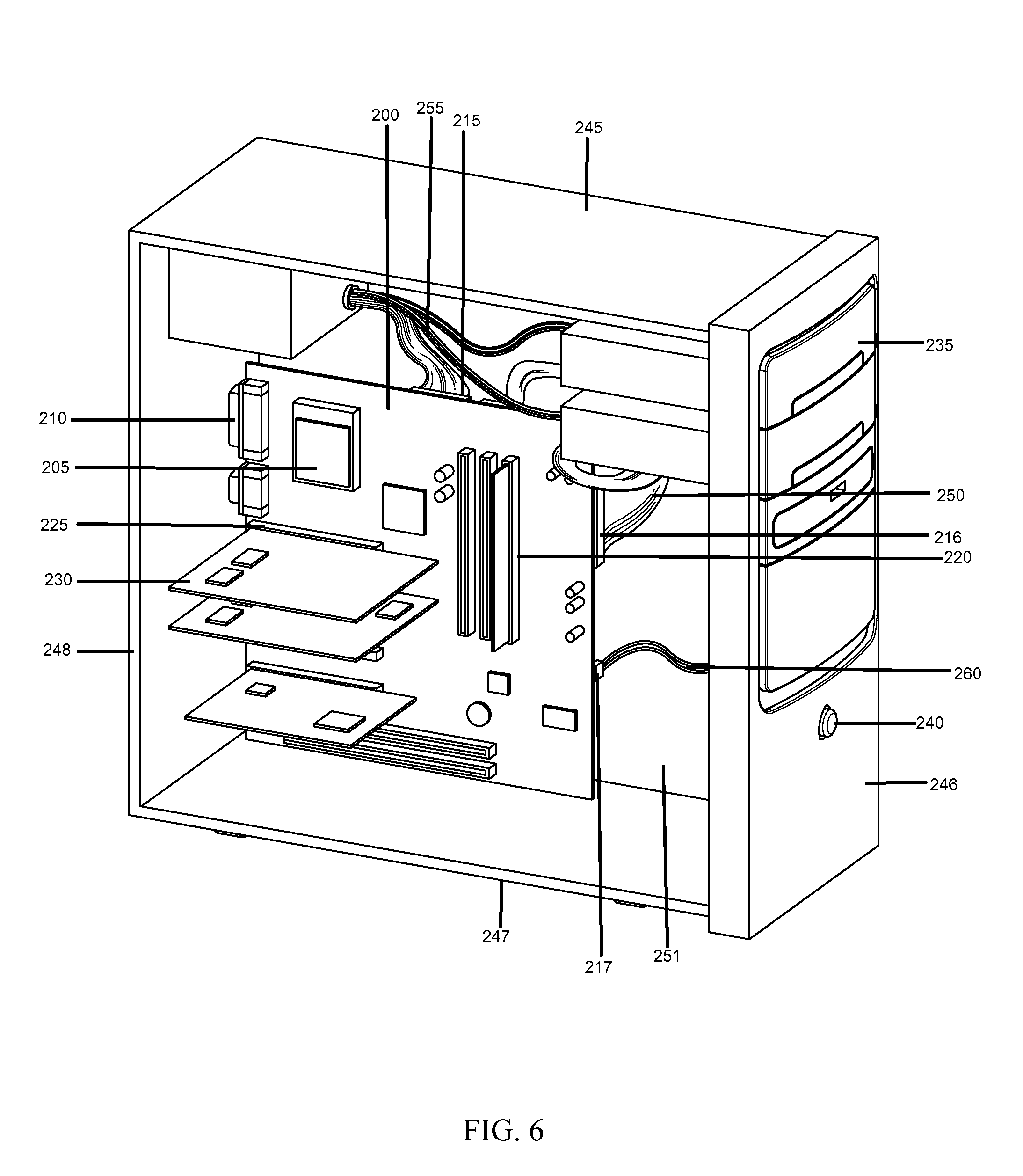patent us20120287569 - motherboard and case with hidden internal connectors