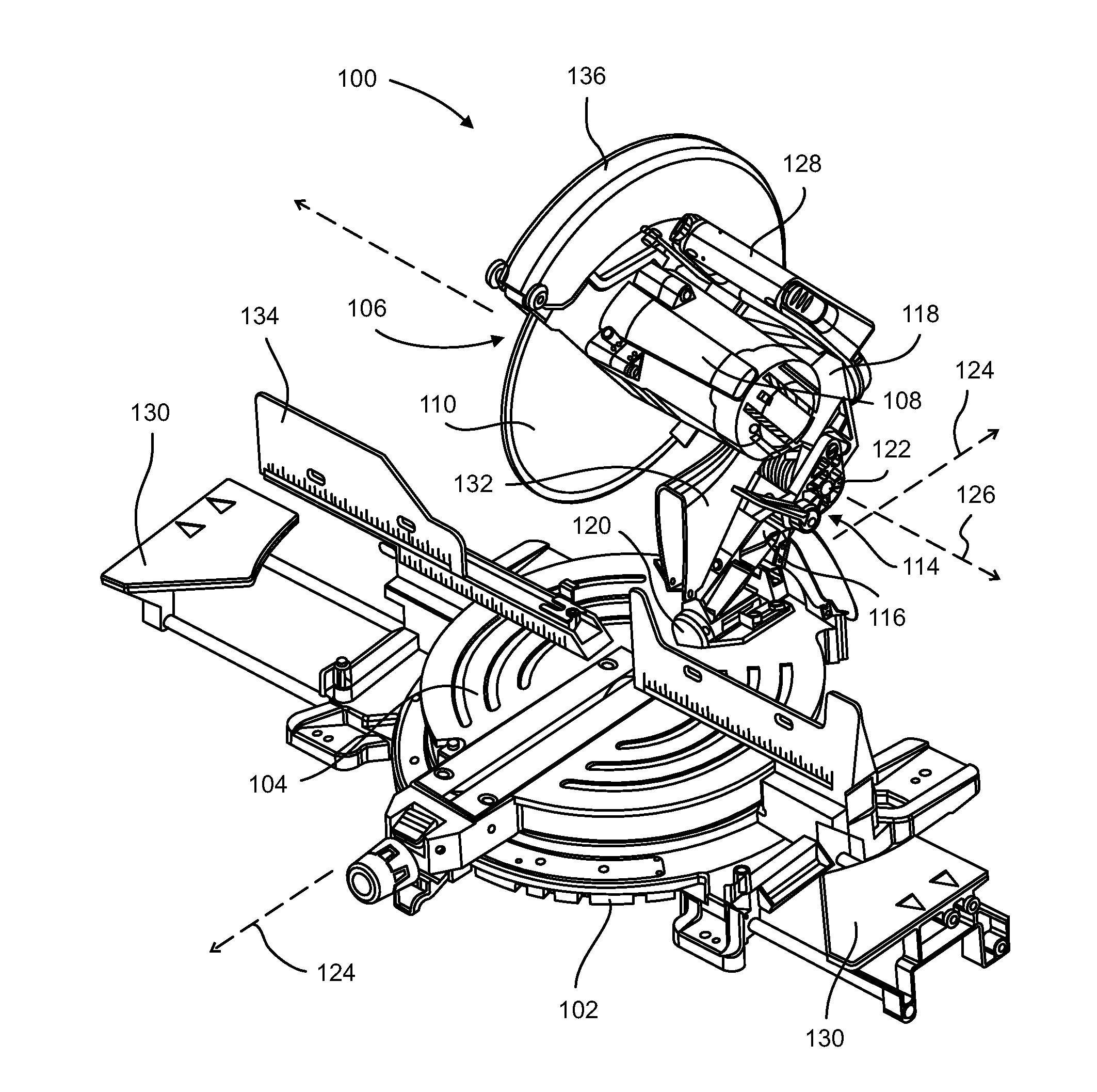 miter saw labeled. patent drawing miter saw labeled e