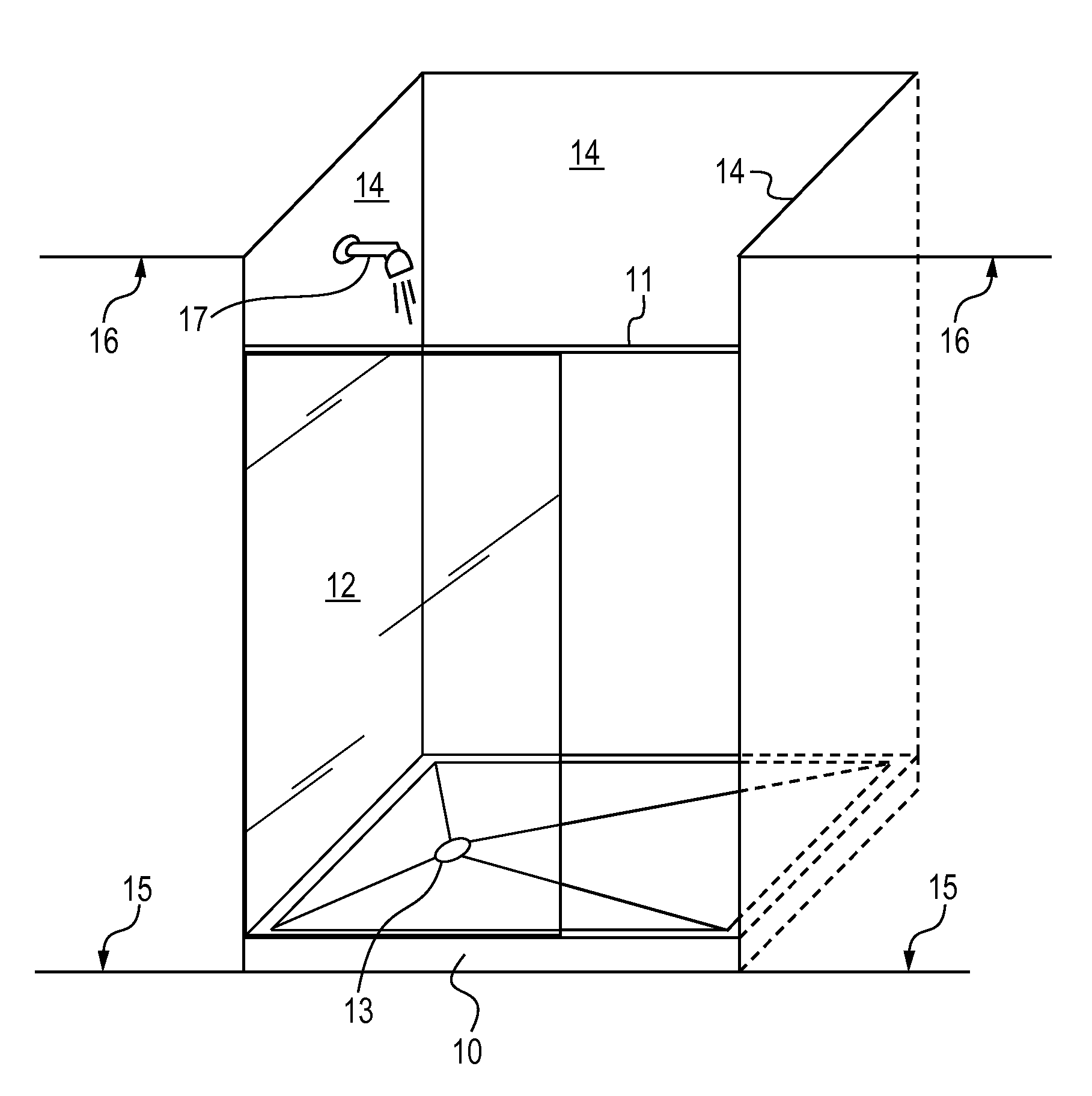 Patent us20130025044 doorless shower enclosure system for Walk in shower plans and specs