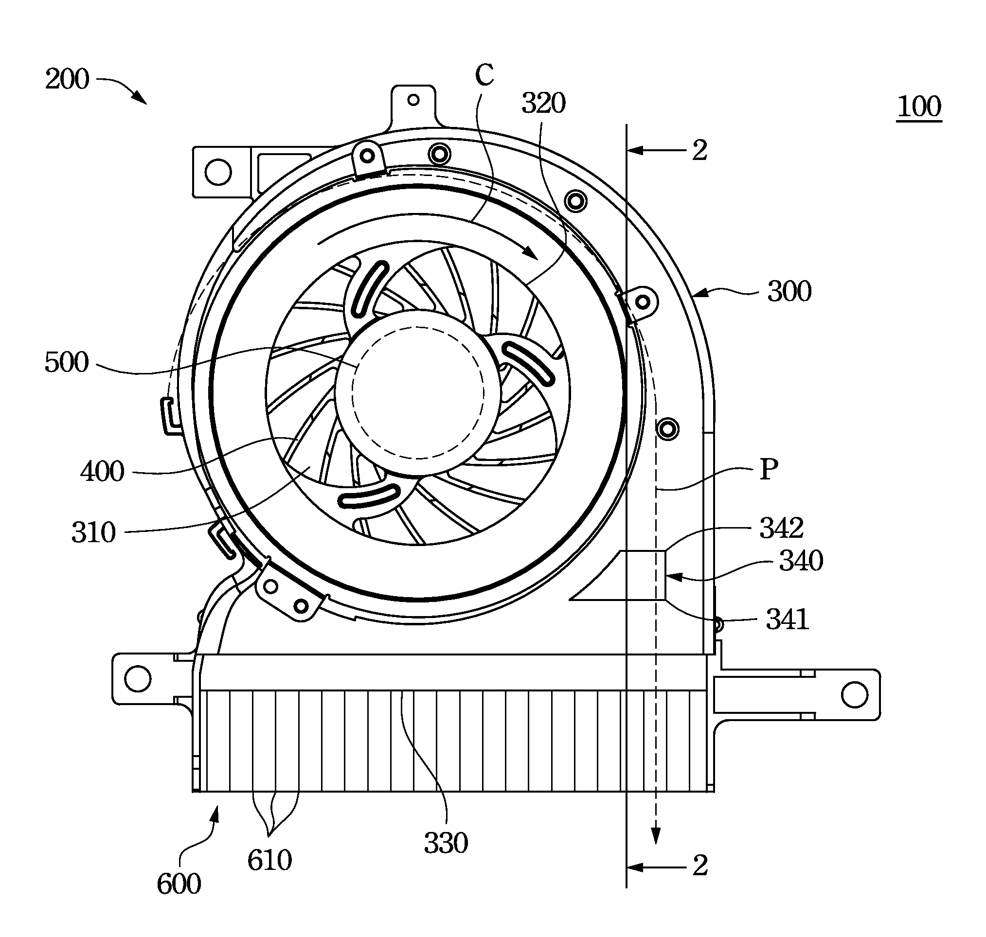 Patent US20130039752 Centrifugal fan module heat dissipation device  #2C2C2C