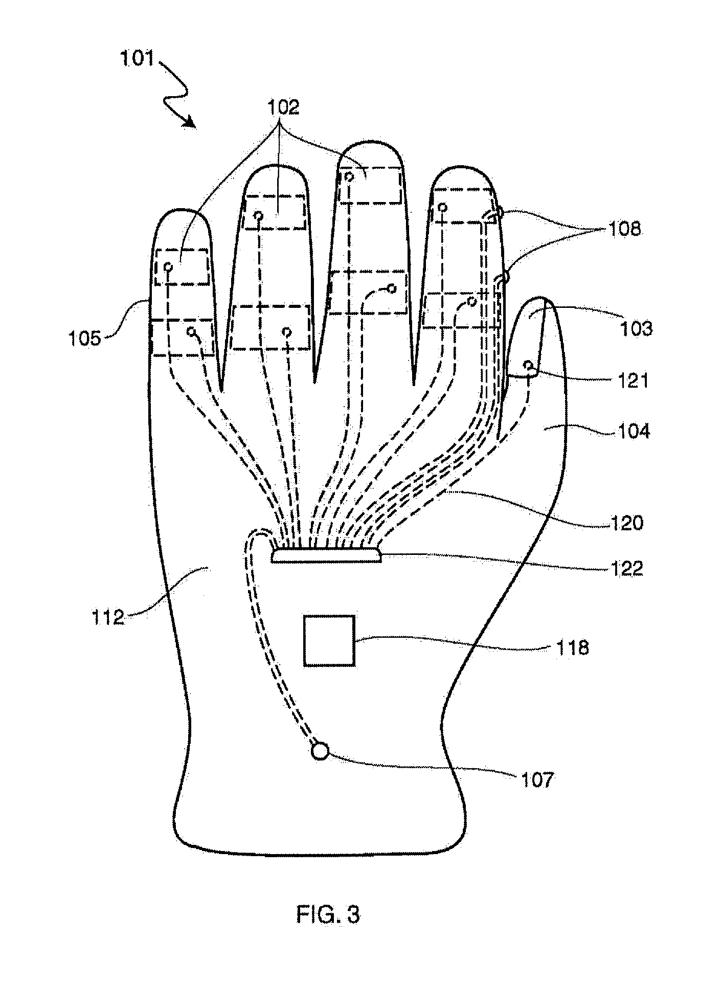 patent us20130169420 - electronic control glove