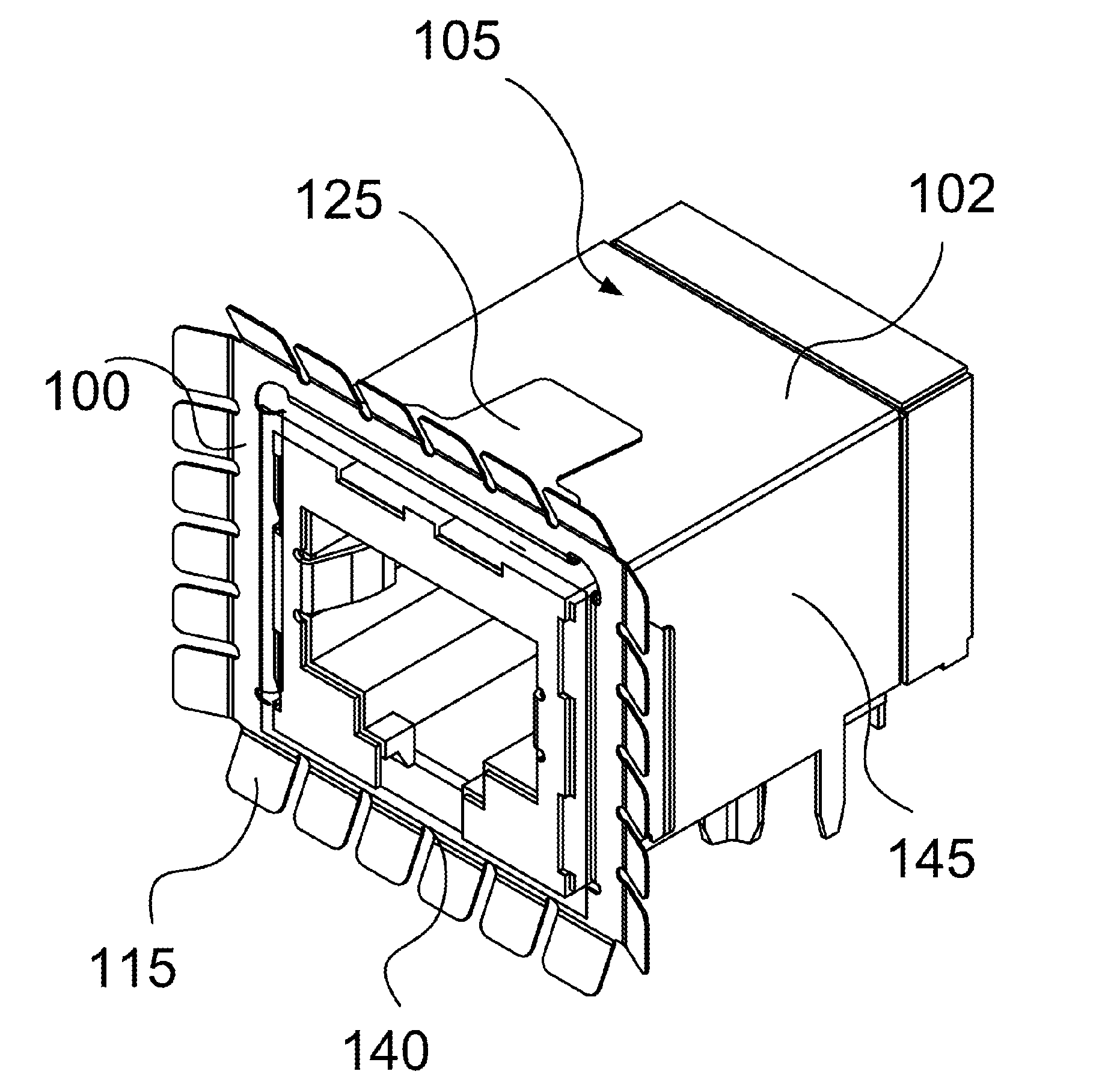 patent us20130224998 - gasket with fingers for rj45 cable connector