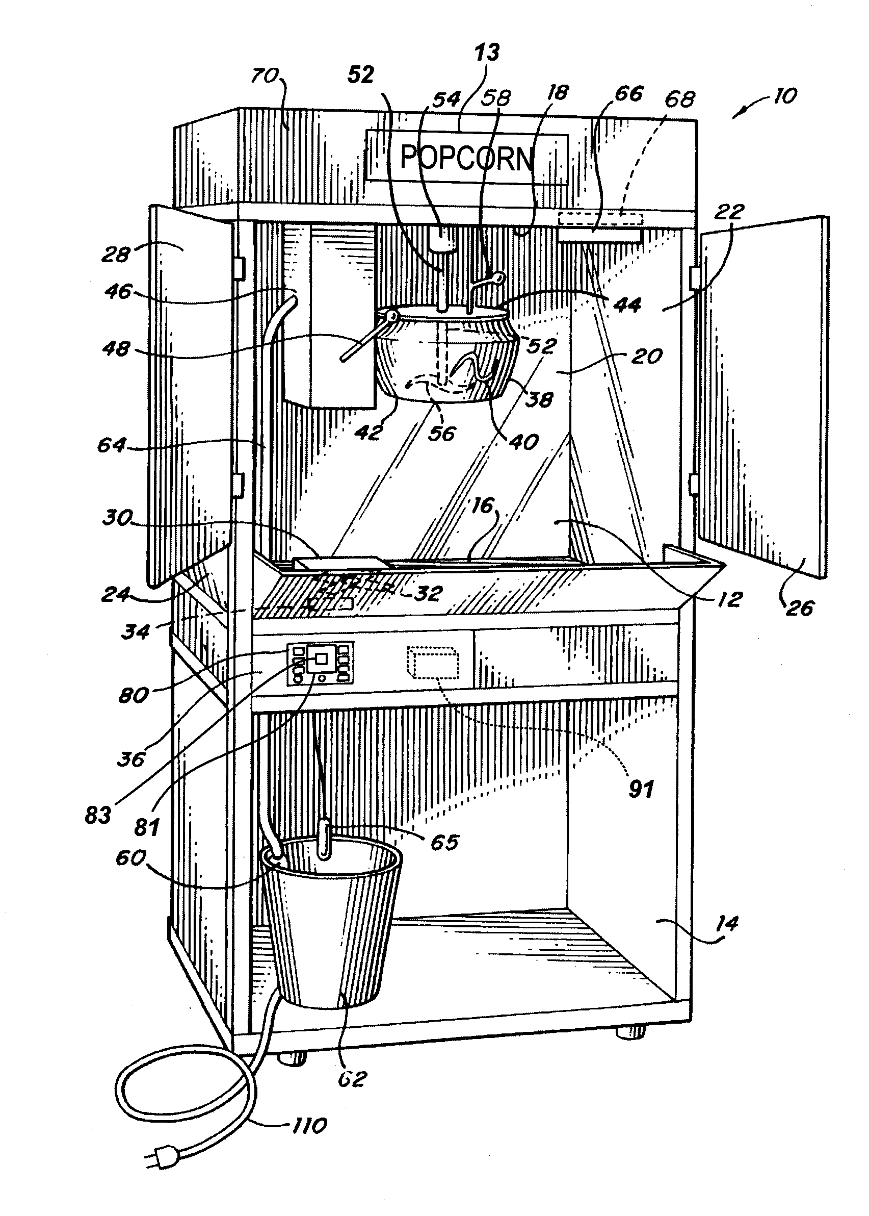 patent us20130280386 popcorn machines and other food service patent drawing