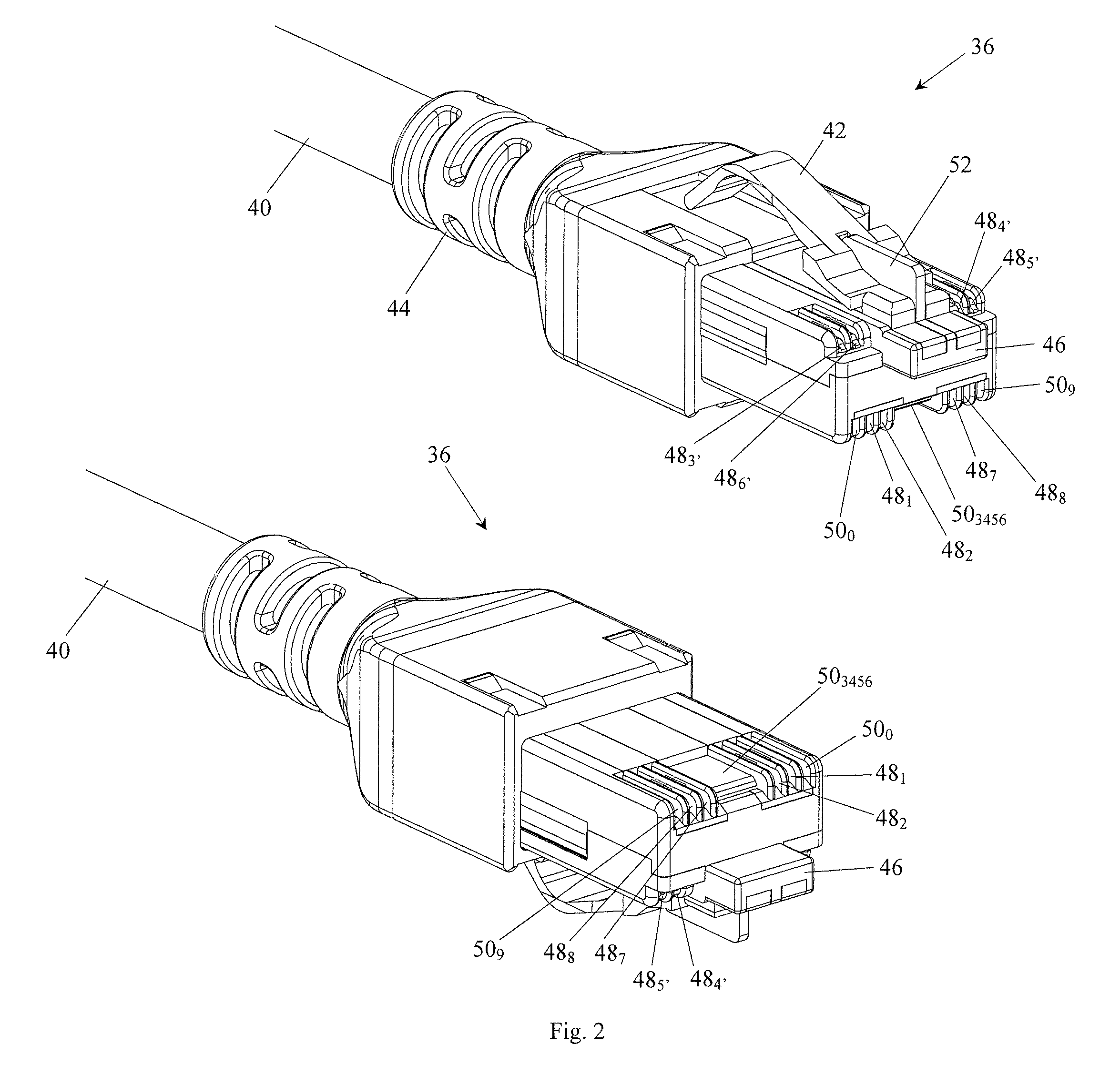 patent us20130280962 - gg45 plug with hinging load bar