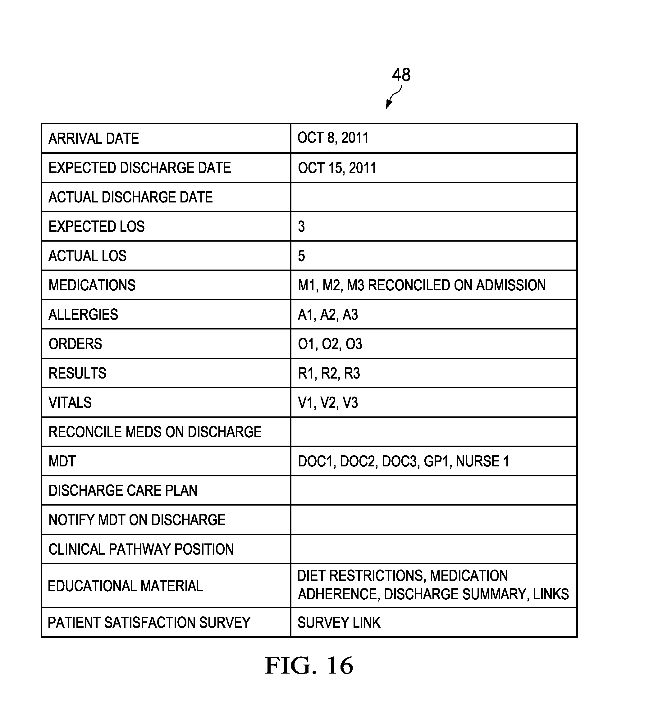 Discharge summary for physical therapy - Patent Drawing
