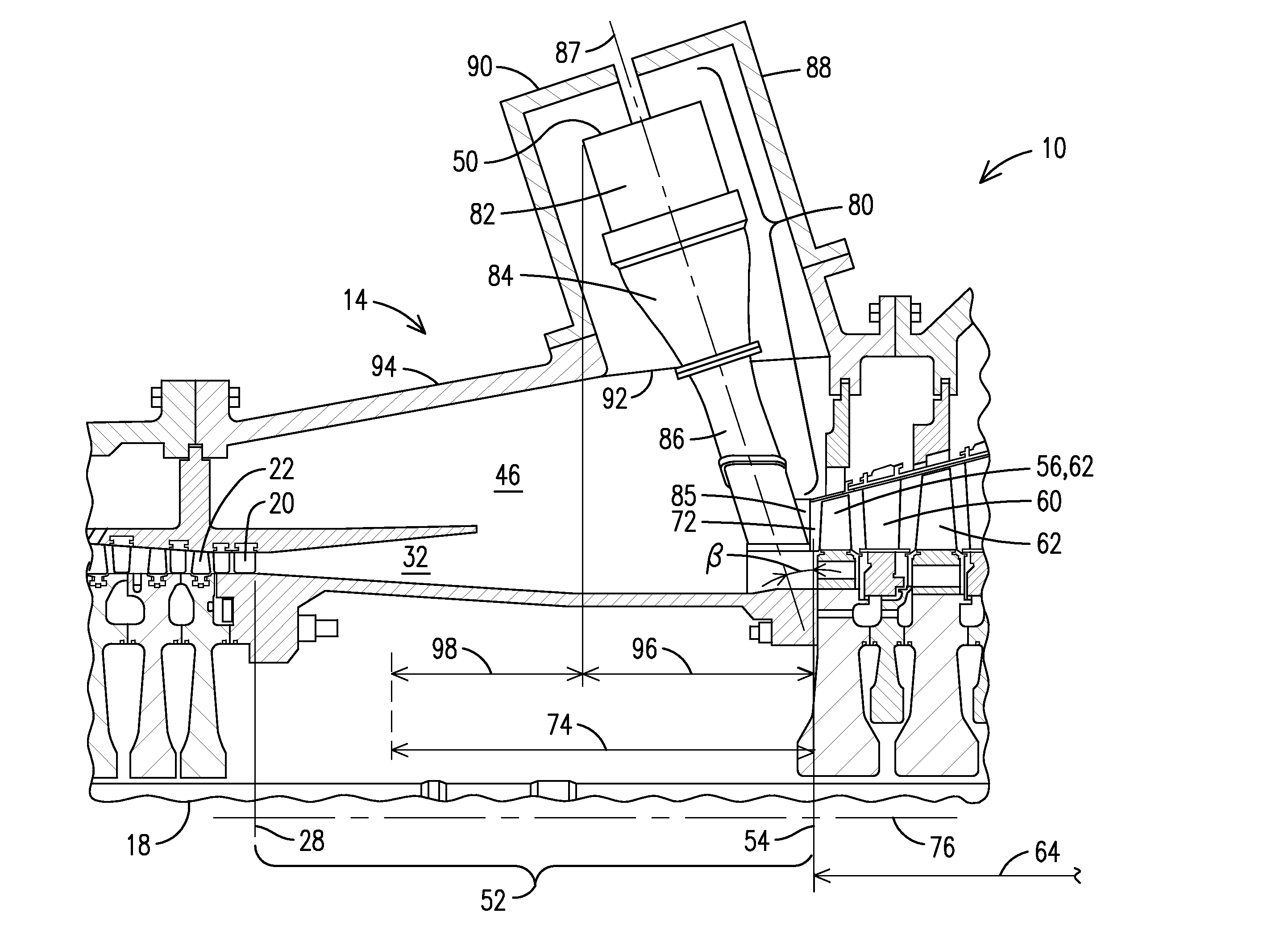 Patent US Gas turbine engine with radial diffuser and
