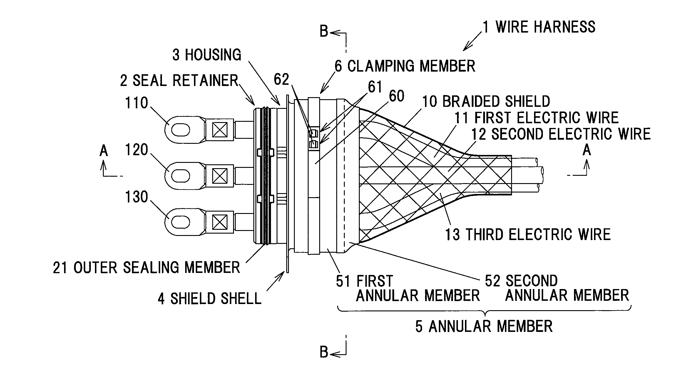 Patent Us20140179161 Wire Harness And Connection Structure Of Seal Drawing