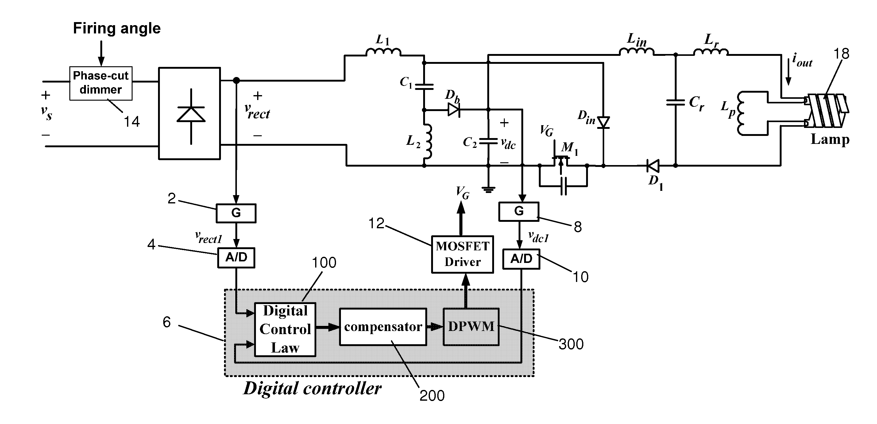 Patent Us20140217917 Digital Controller For An Electronic Ballast Dimmable Circuit Dimming Feature Included Drawing