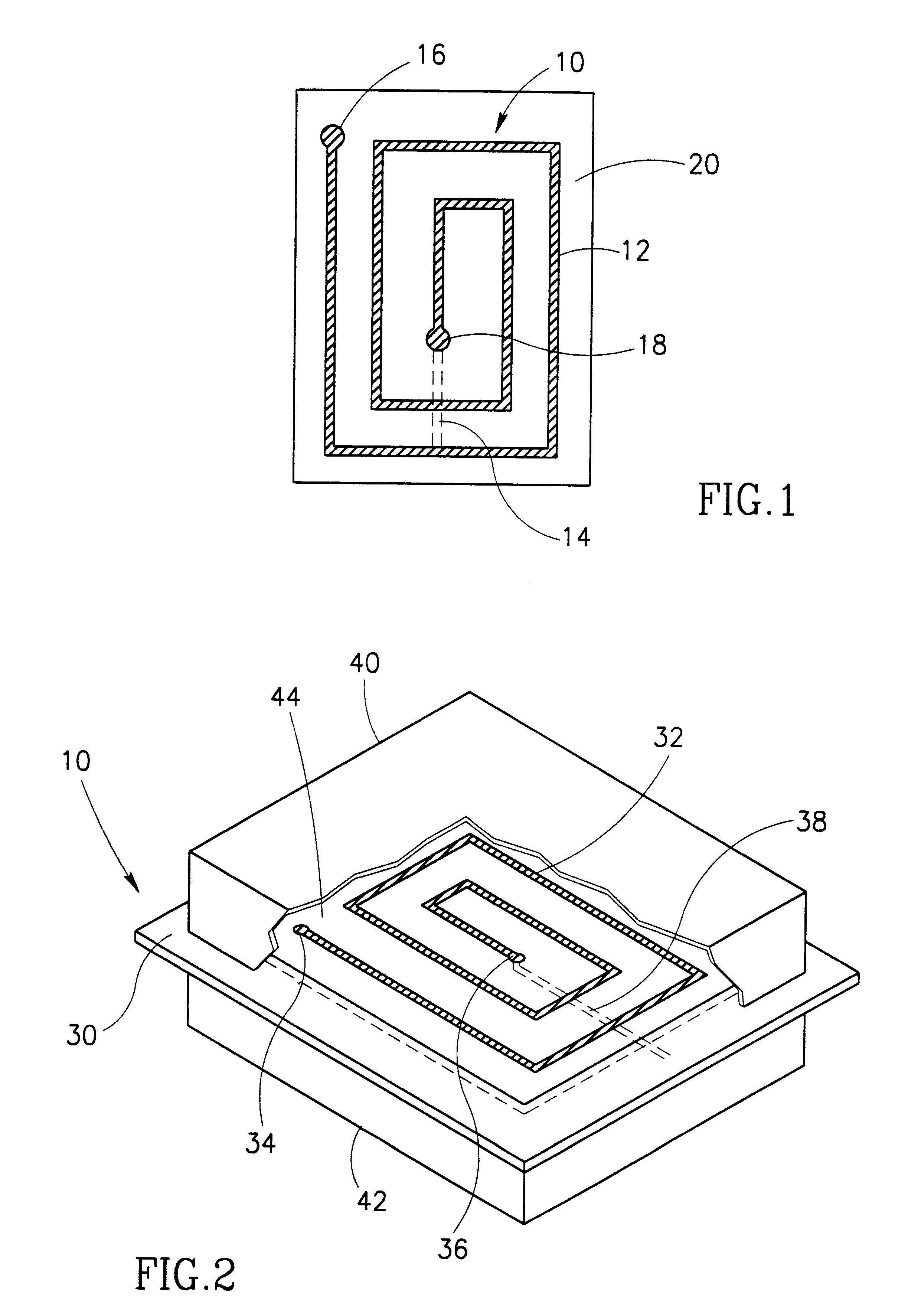 Patent Us6175727 Suspended Printed Inductor And Lc Type Filter Rf Circuits Lowpass Highpass Bandpass Notch Drawing