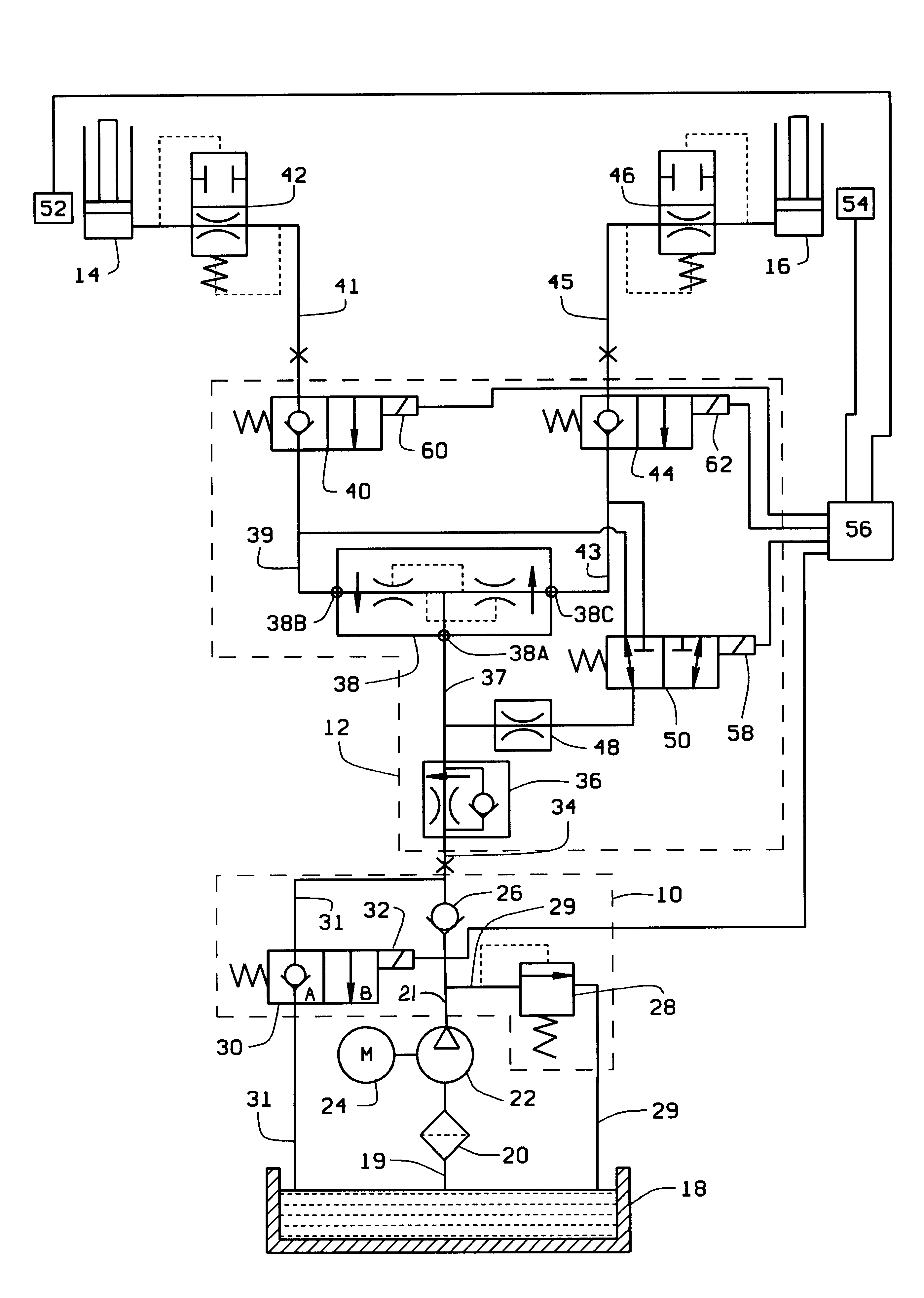 US06189432 20010220 D00001 patent us6189432 automotive lift hydraulic fluid control circuit car lift wiring diagram at n-0.co