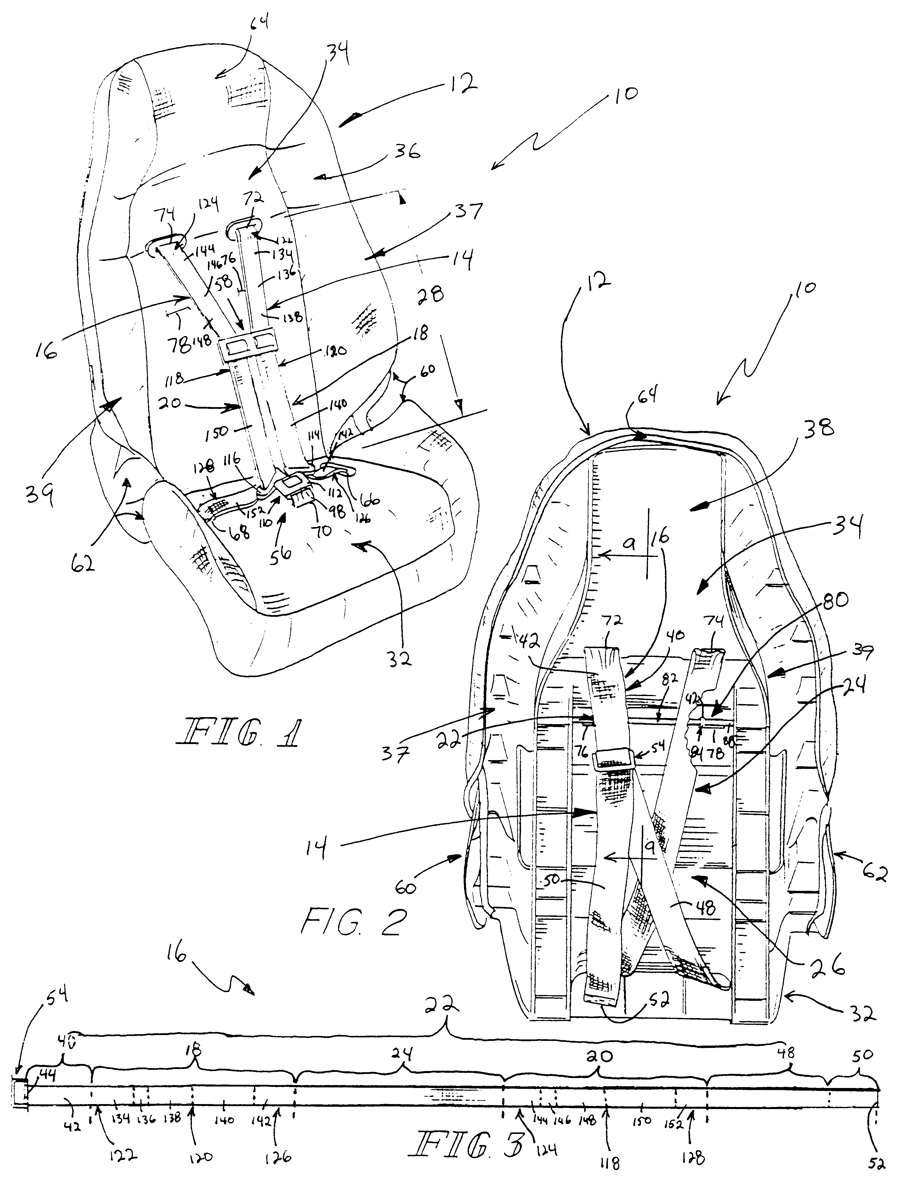 Patent us6189970 harness for juvenile vehicle seat google patents patent drawing robcynllc Gallery