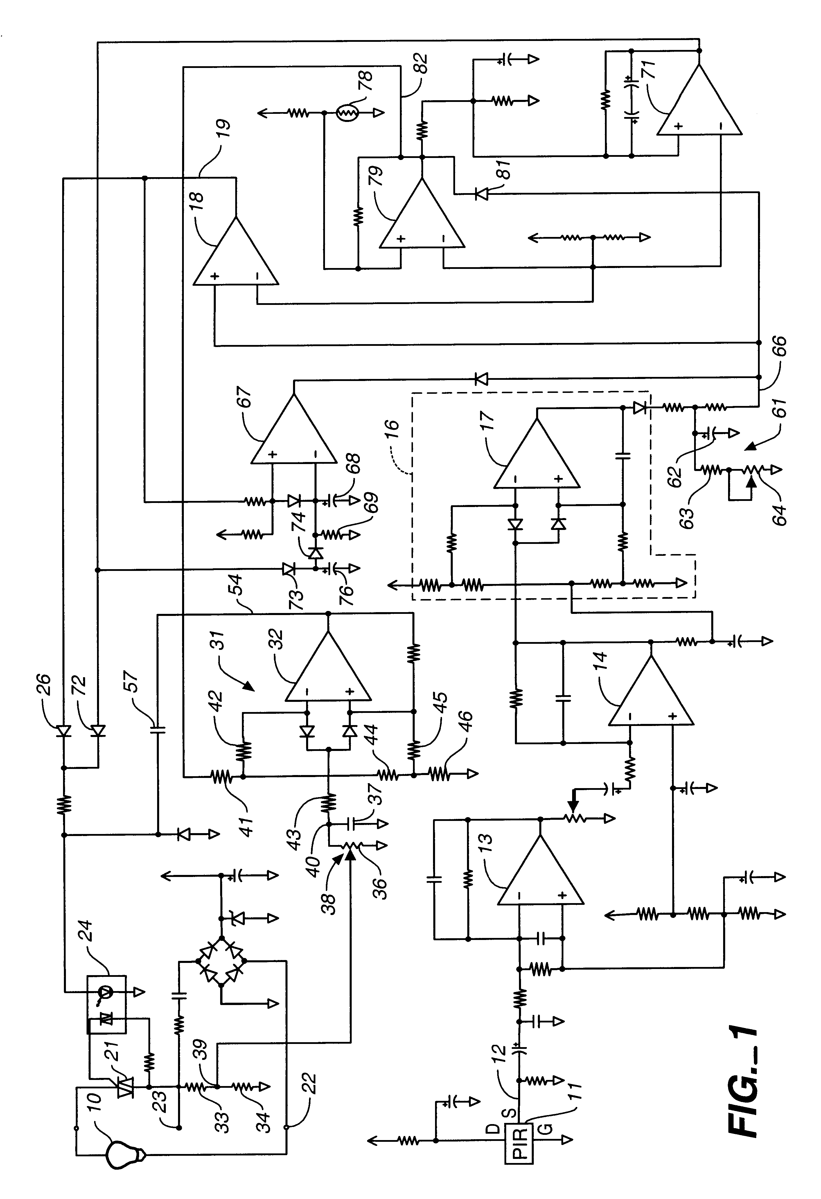 Patent Us6225748 Motion Detector Circuitry With Adjustable Triac Triggering Circuit Using Diac Here In This The Light Drawing