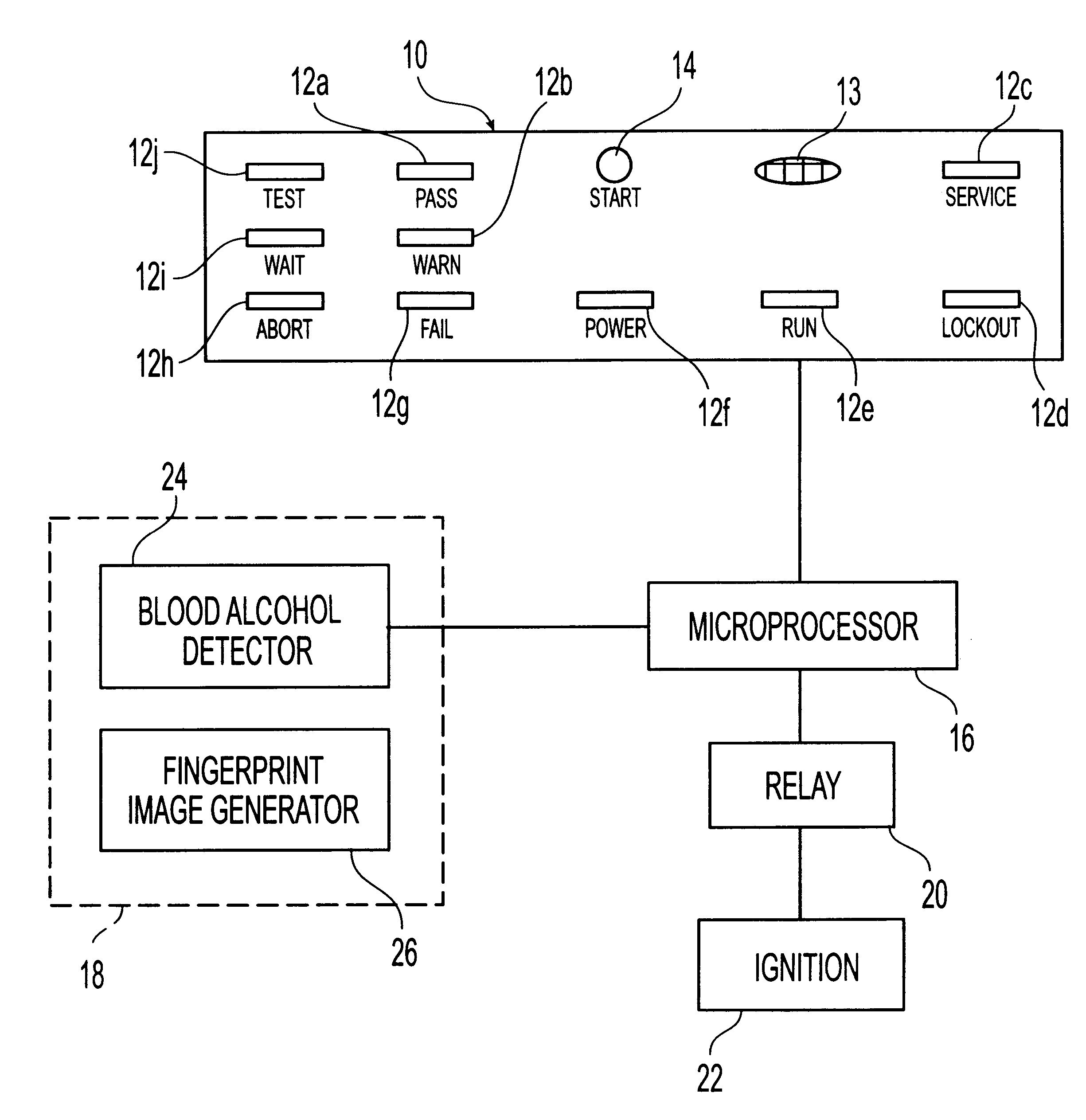 Patent Us6229908 Driver Alcohol Ignition Interlock Google Patents How To Bypass An Device Iid Drawing