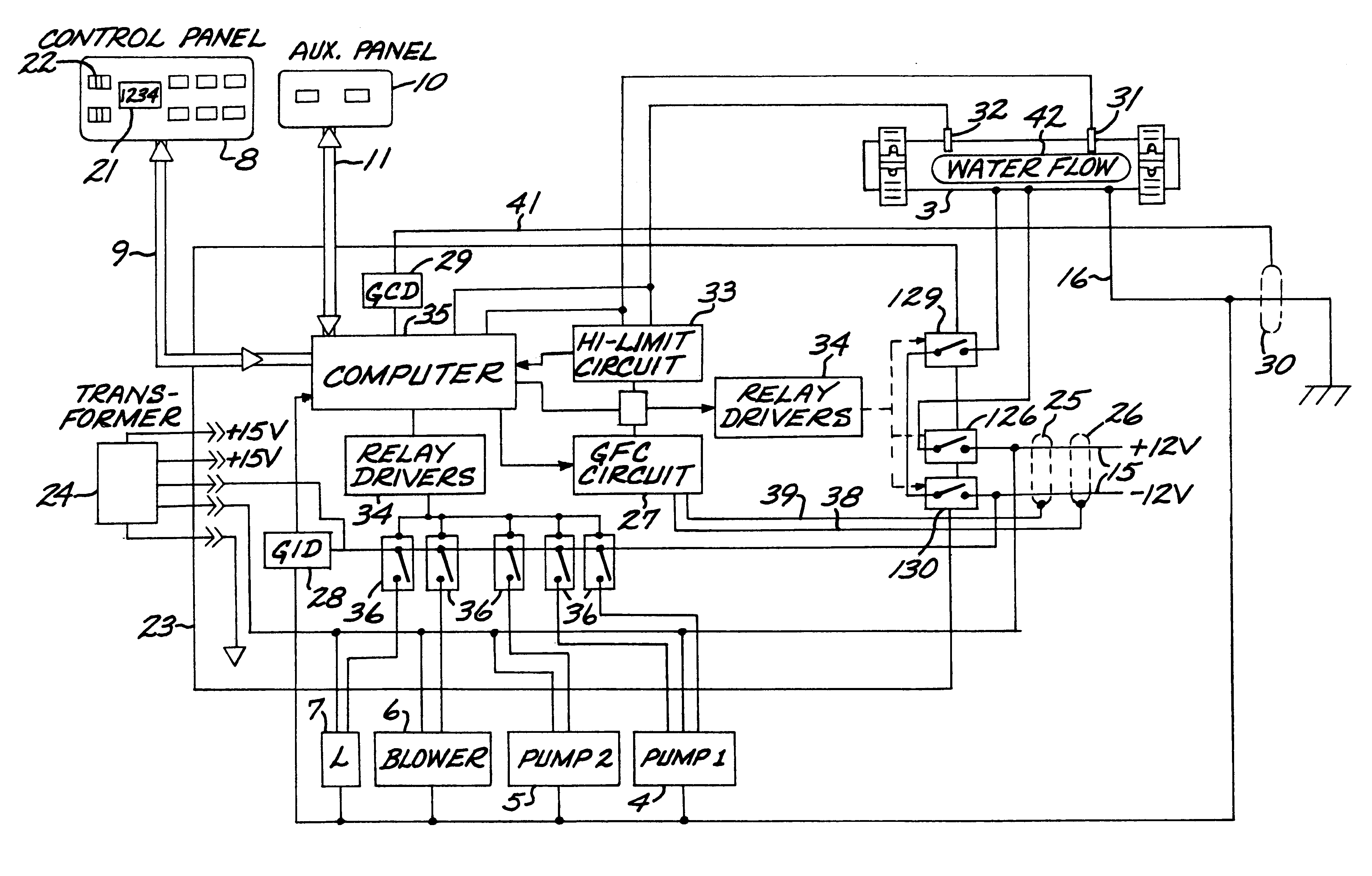 US06253121 20010626 D00000 patent us6253121 control system for bathers with ground thermospa wiring diagram at crackthecode.co